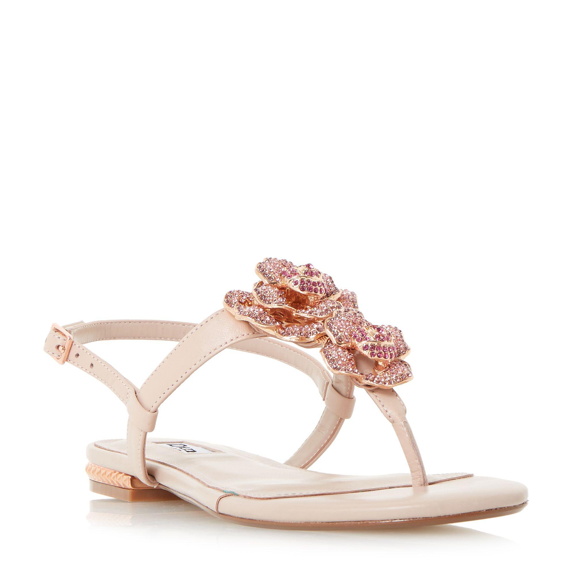 7f12d80268ca1 Dune Light Pink  mulligan  Jewel Floral Brooch Sandals in Pink ...