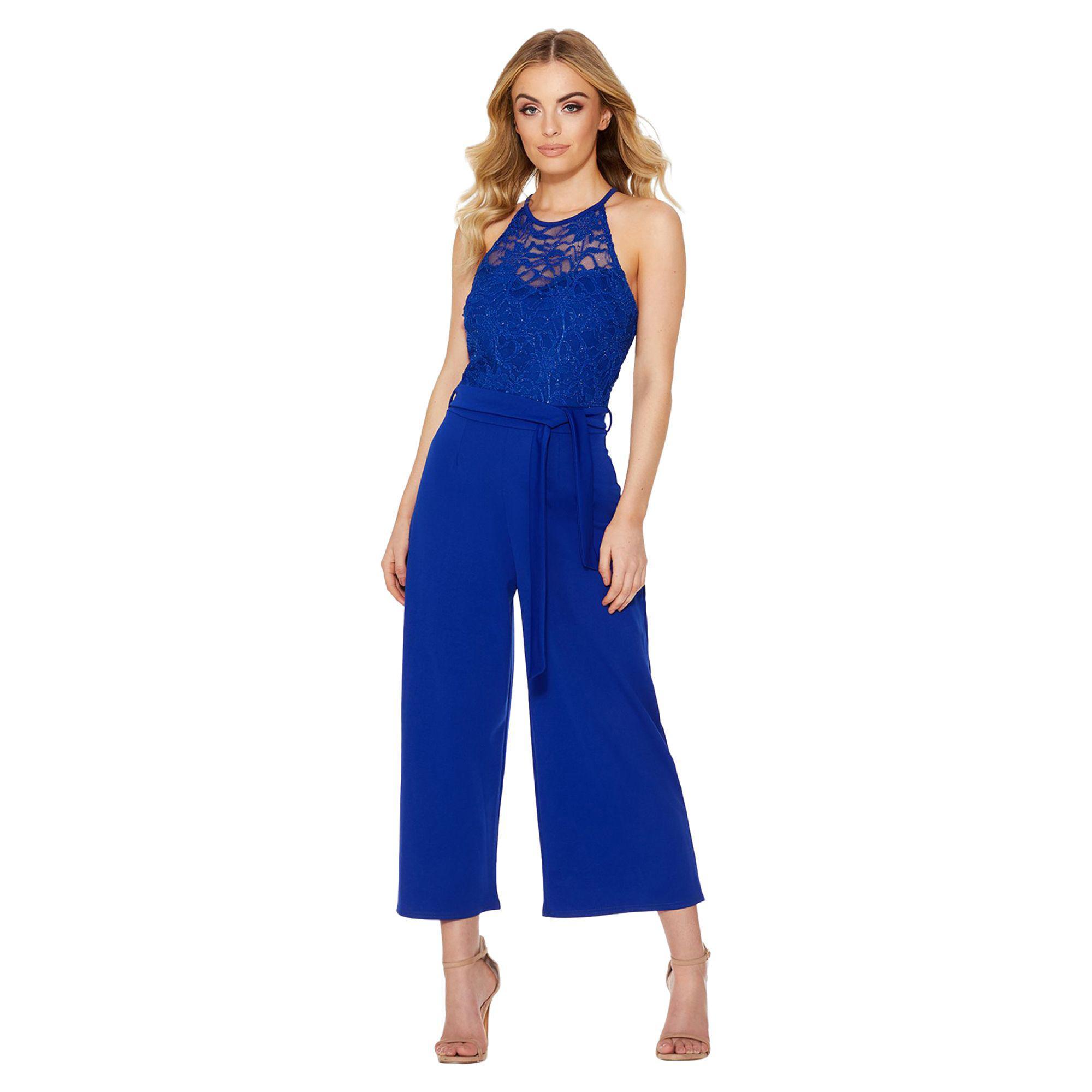 721e4e434bd Quiz Royal Blue Lace Culotte Jumpsuit in Blue - Lyst