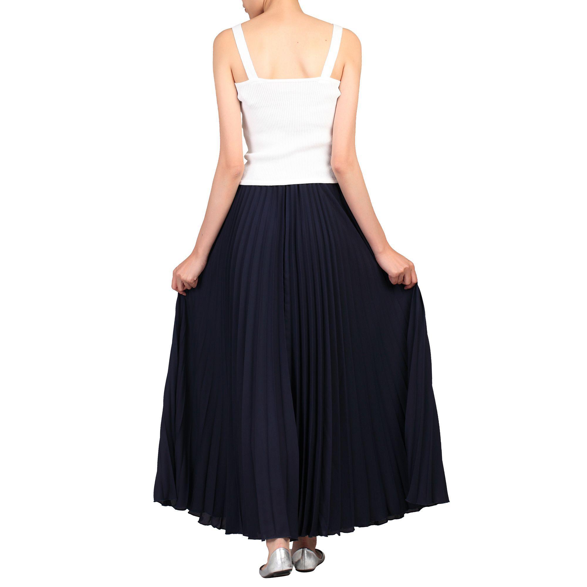 cd31e10d54 Jolie Moi - Blue Navy Crepe Pleated Maxi Skirt - Lyst. View fullscreen
