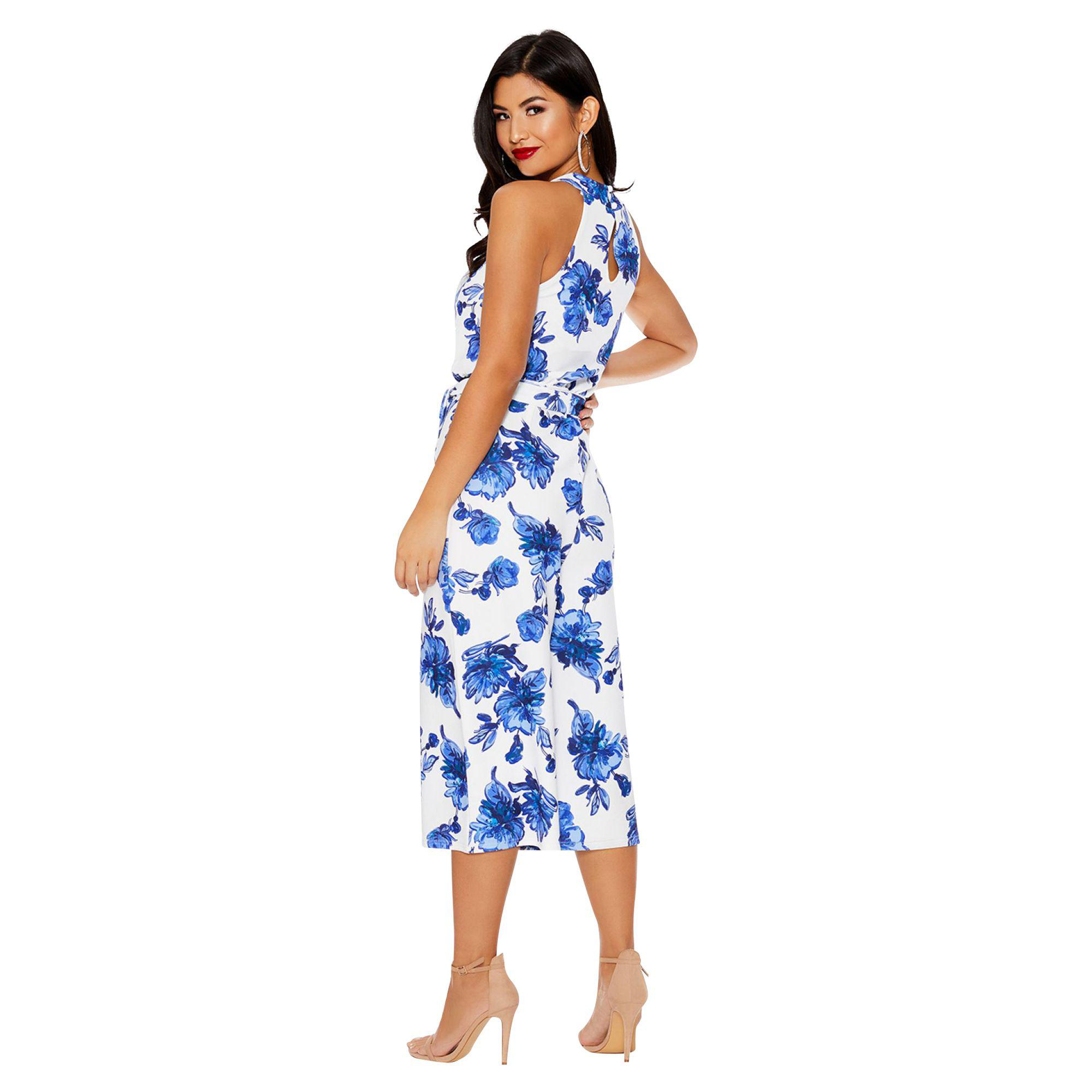4f29890349d Quiz - Blue And White Floral Print Jumpsuit - Lyst. View fullscreen