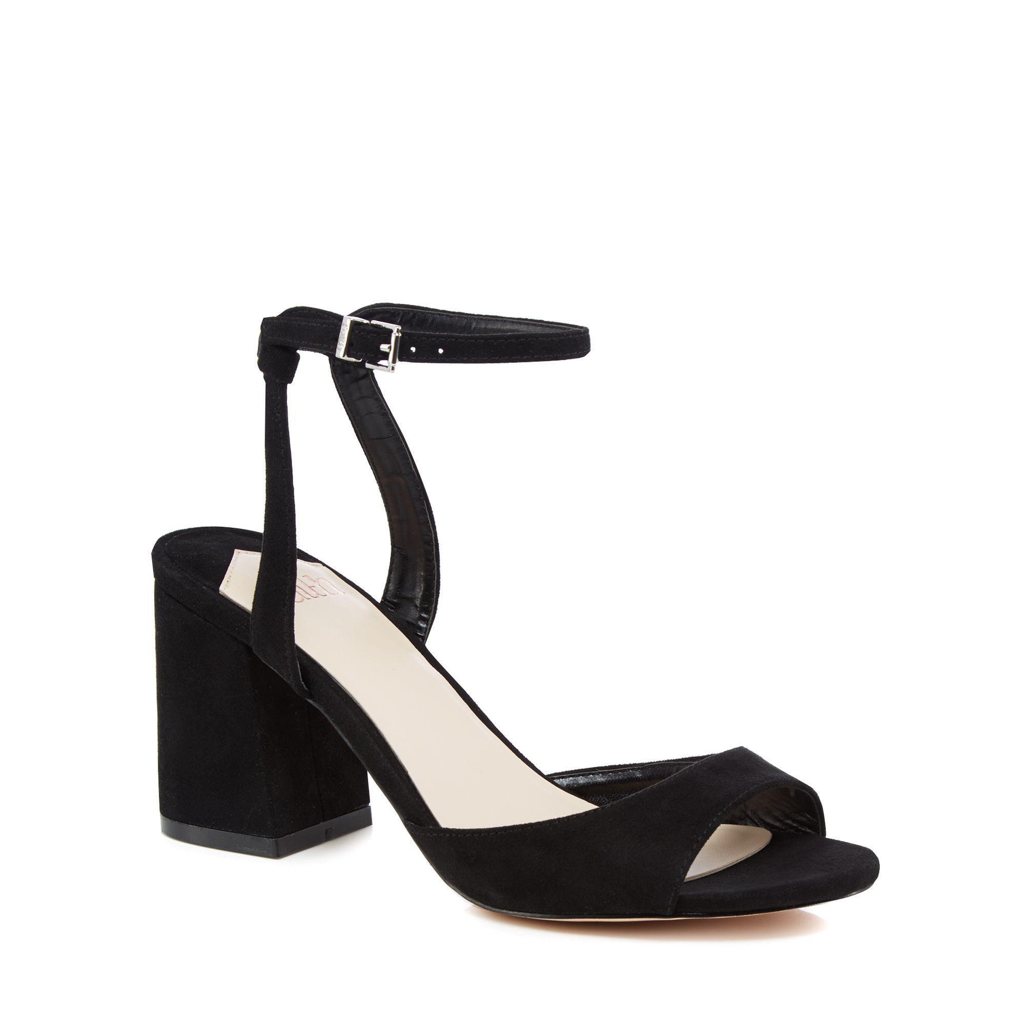 9baa4ca2f949 Faith - Black Suedette  danicar  Mid Block Heel Ankle Strap Sandals - Lyst.  View fullscreen