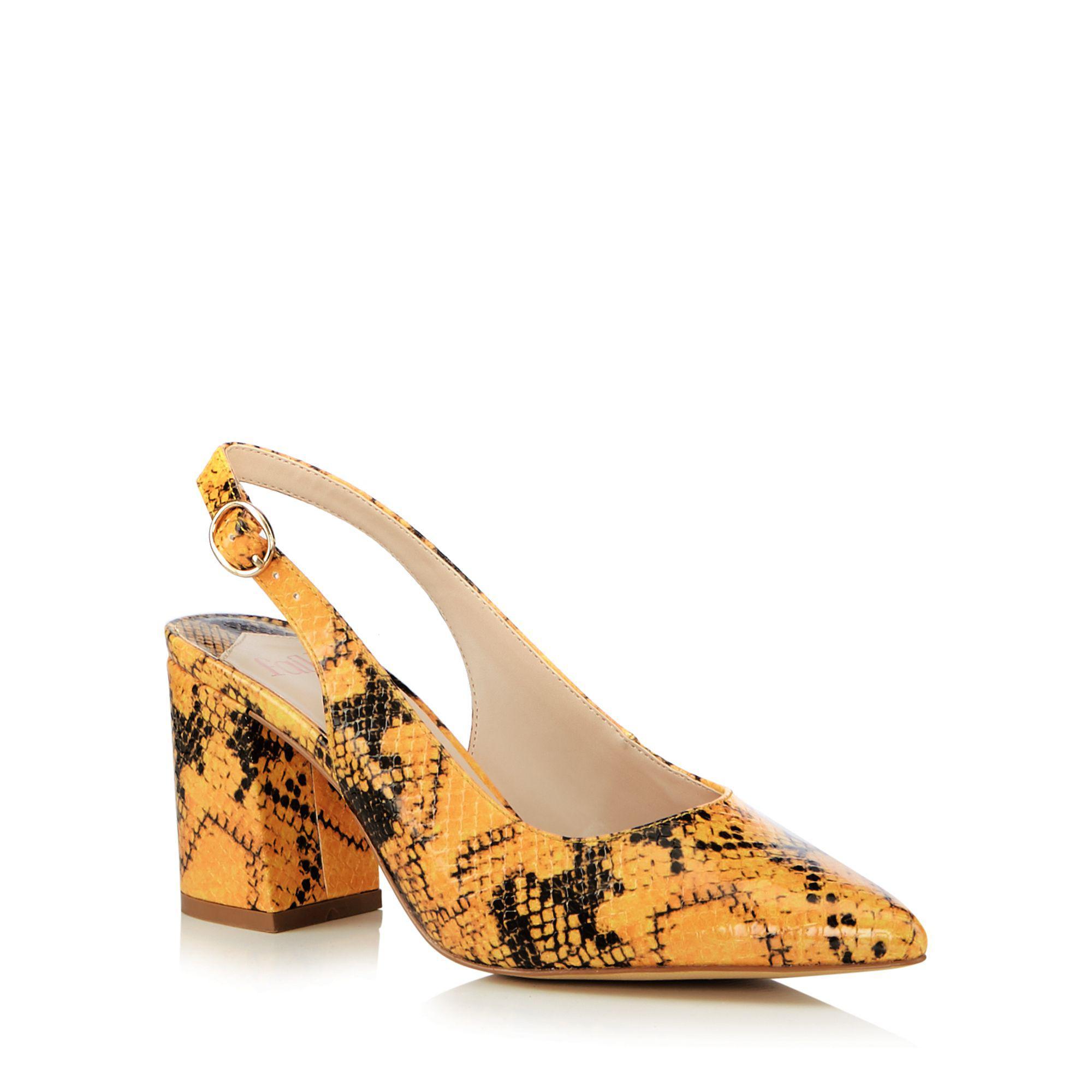 4a8efc5538b0 Faith Yellow  cake  Snakeskin Block Heel Slingbacks Sandals in ...