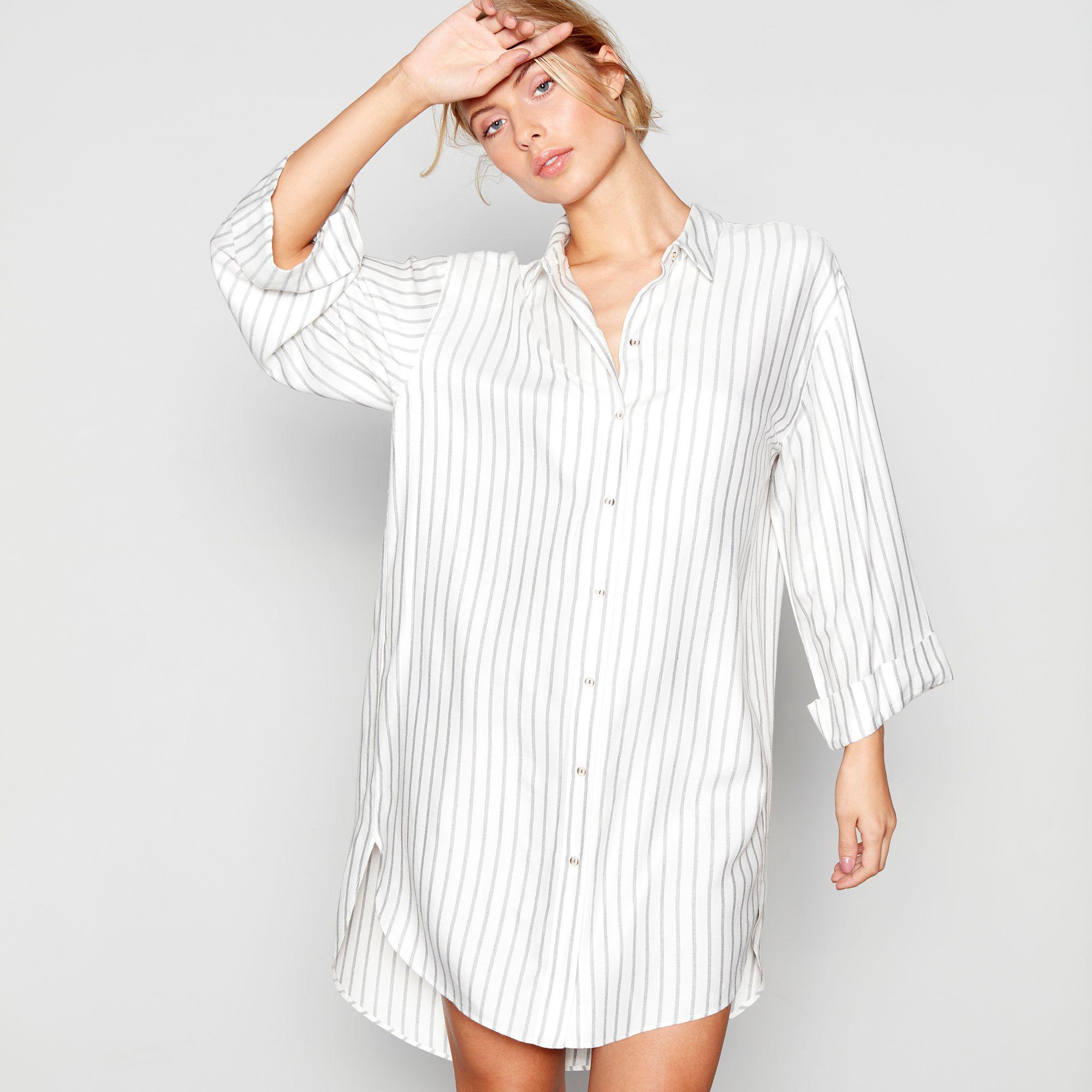 4f76941f043 J By Jasper Conran Cream Stripe Print  hygge  Nightshirt in White - Lyst