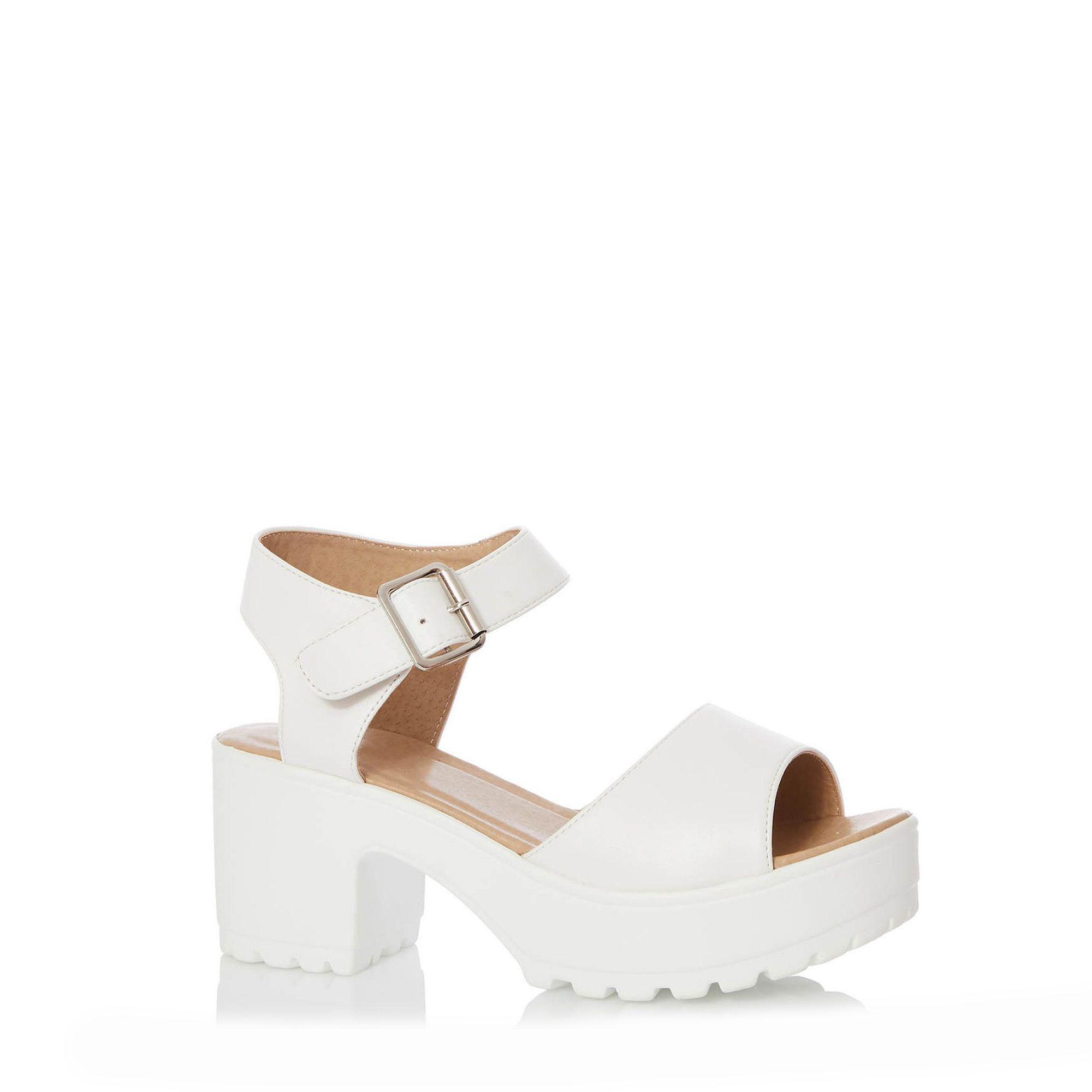 0cf4fe561 Quiz White Chunky Heel Sandals in White - Lyst