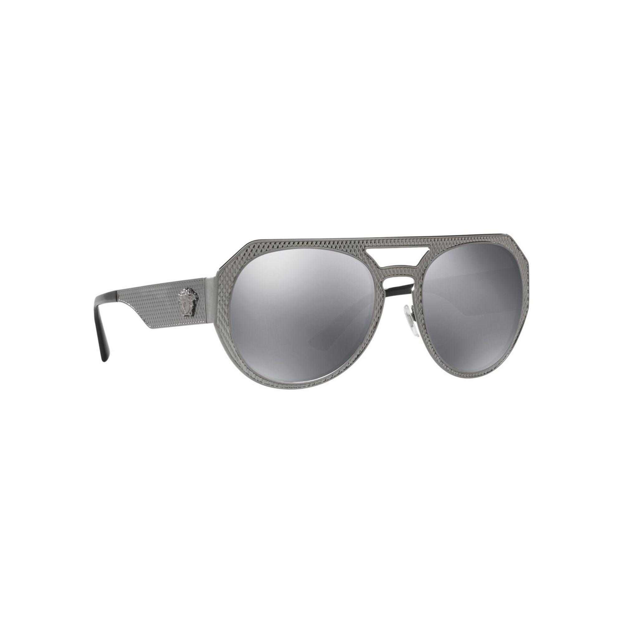8438a2ac5cdd Versace Gunmetal Ve2175 Round Sunglasses in Gray - Lyst