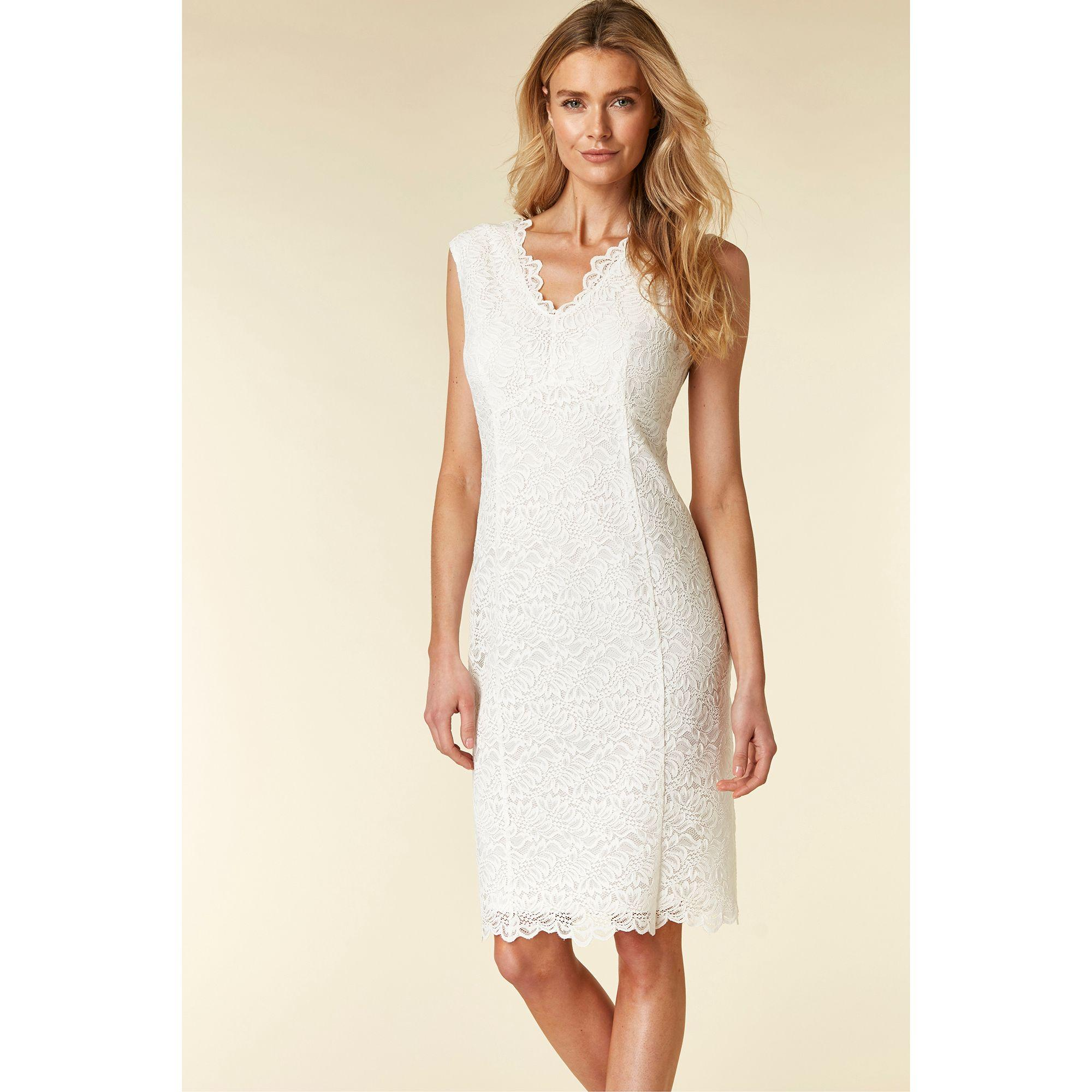 4aa899d093f Wallis Ivory Lace V-neck Shift Dress in Natural - Lyst