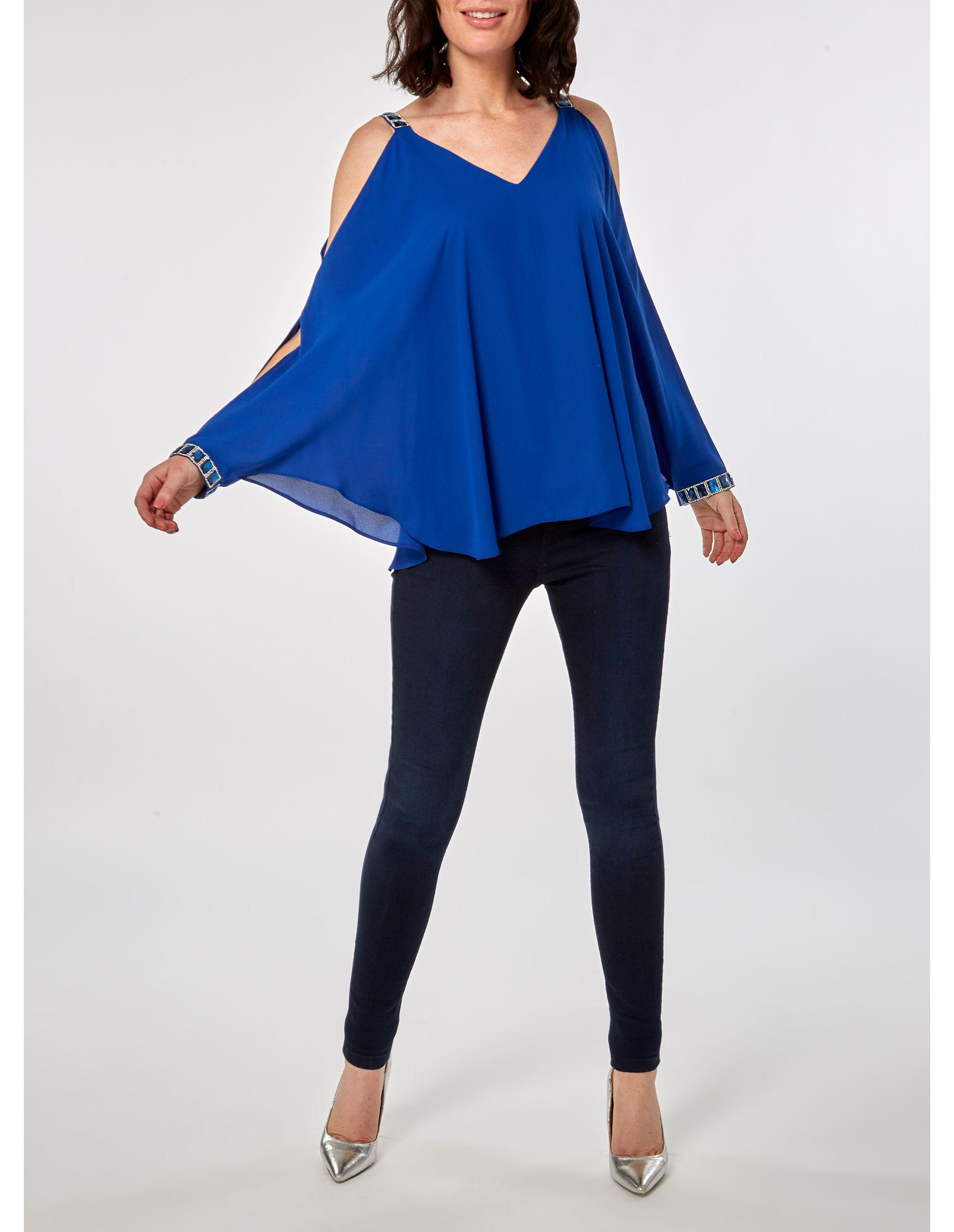 48ba540197cf71 Dorothy Perkins Cobalt Blue Embellished Trim Cold Shoulder Top in Blue -  Lyst