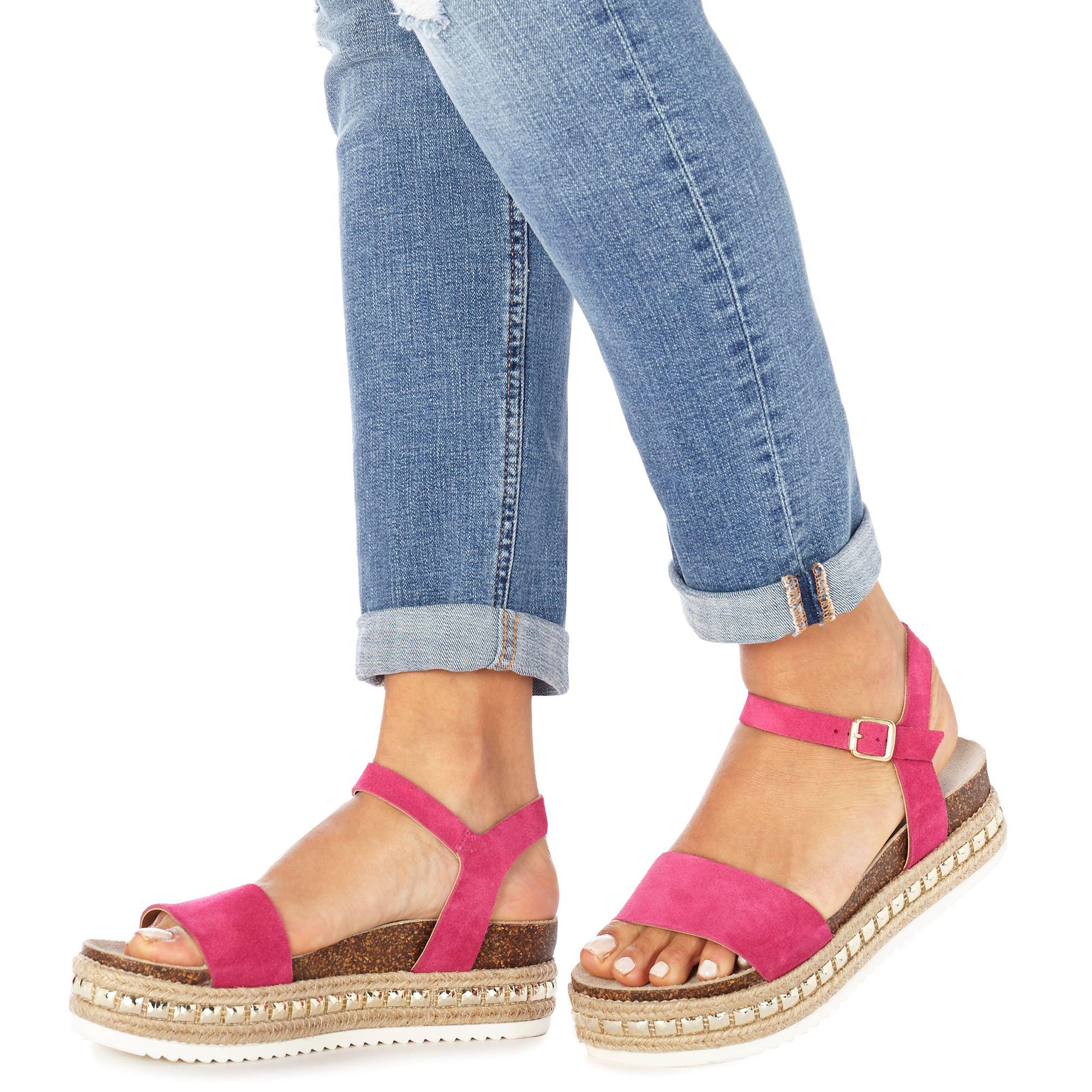 3f5c85b95be Faith Pink Suede  jossy  Mid Flatform Heel Ankle Strap Espadrille ...