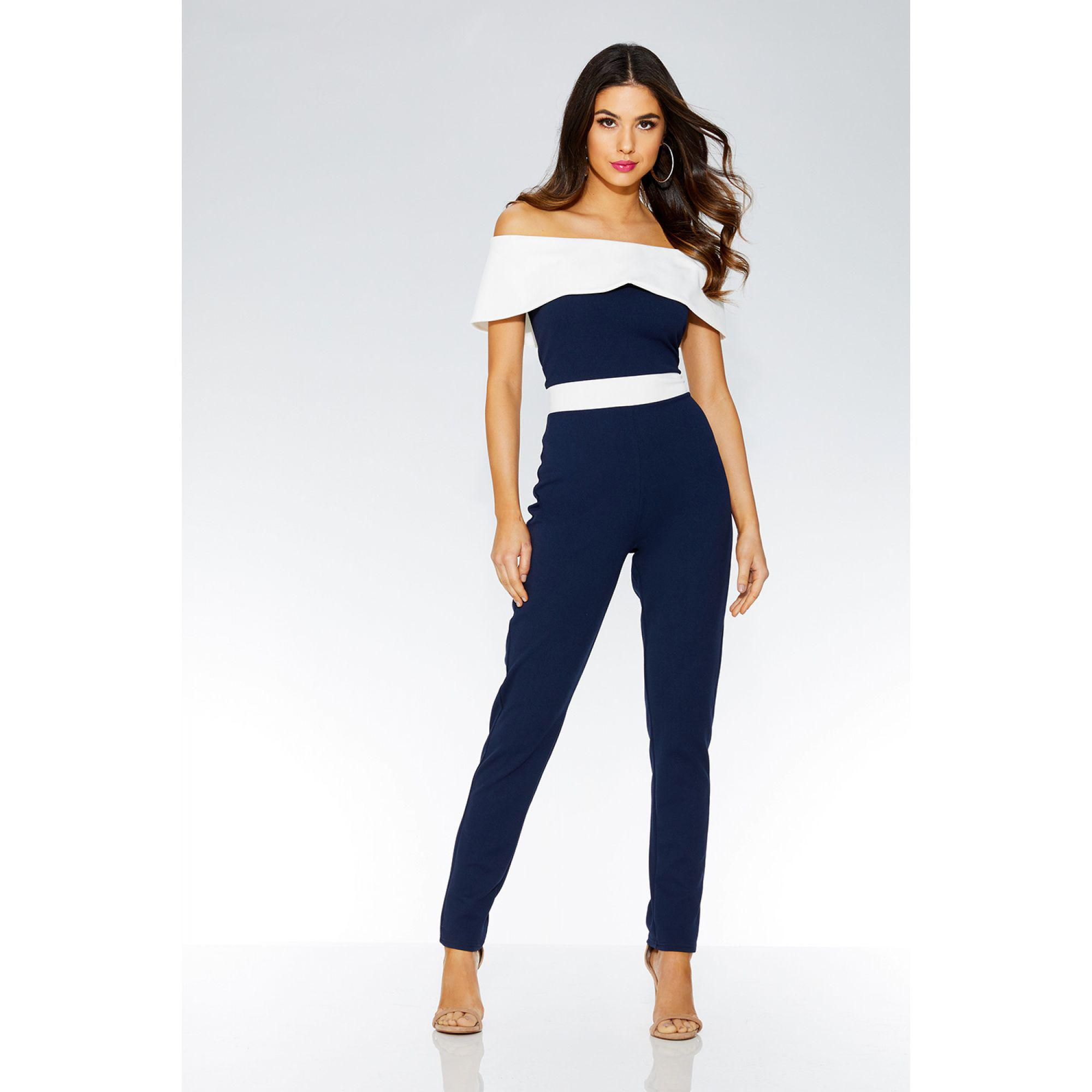 e0d80ef1b93 Quiz Navy And Cream Bardot Jumpsuit in Blue - Lyst