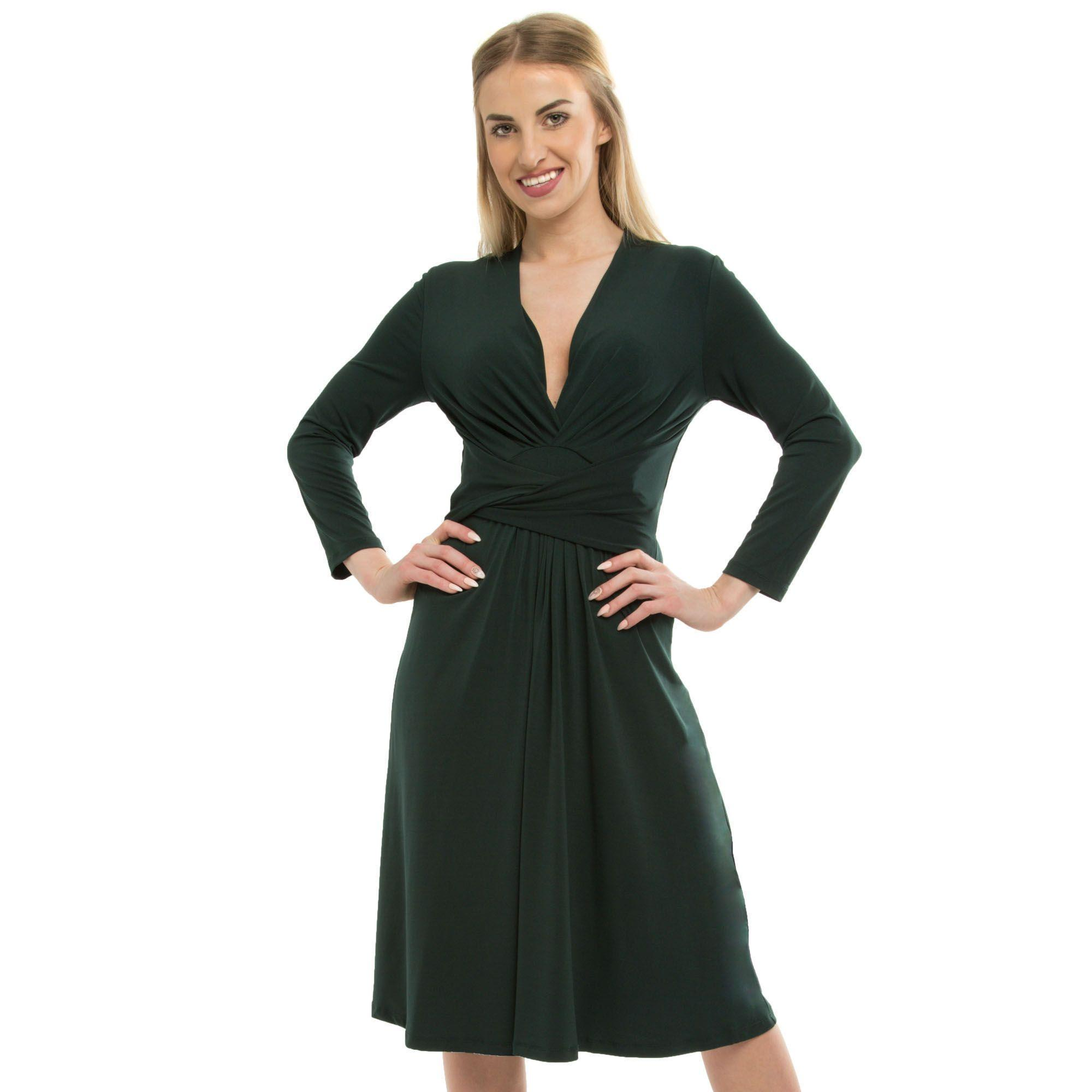 Anna V Field Wrap Green In Lyst Dress Dark Neck 7SZwSfq