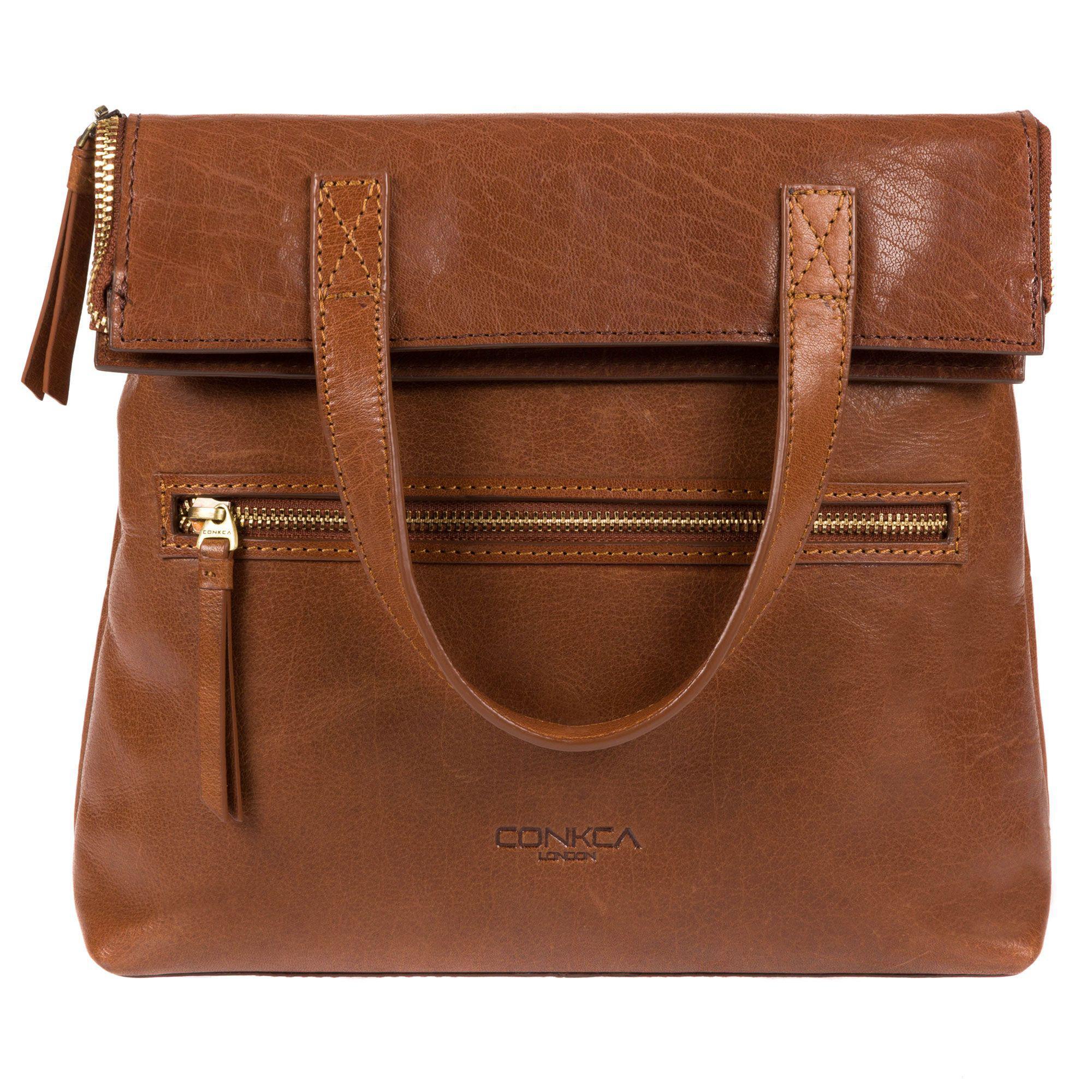 c8abaea2e9a9 Conkca London Conker Brown And Dark Tan  anoushka  Handmade Leather ...