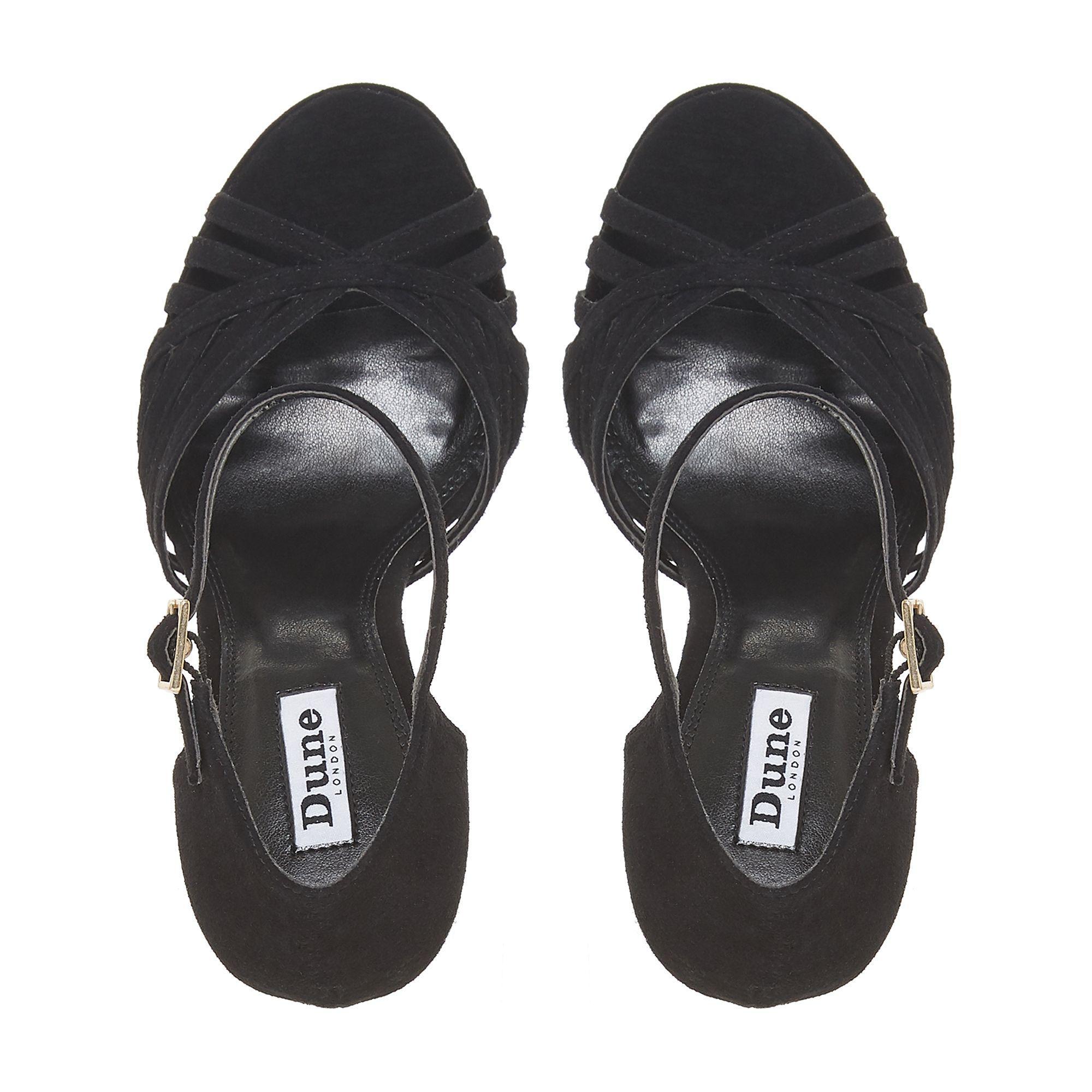 10e9dc9e2e5 Dune Black Suede  madisonn  High Platform Ankle Strap Sandals in ...