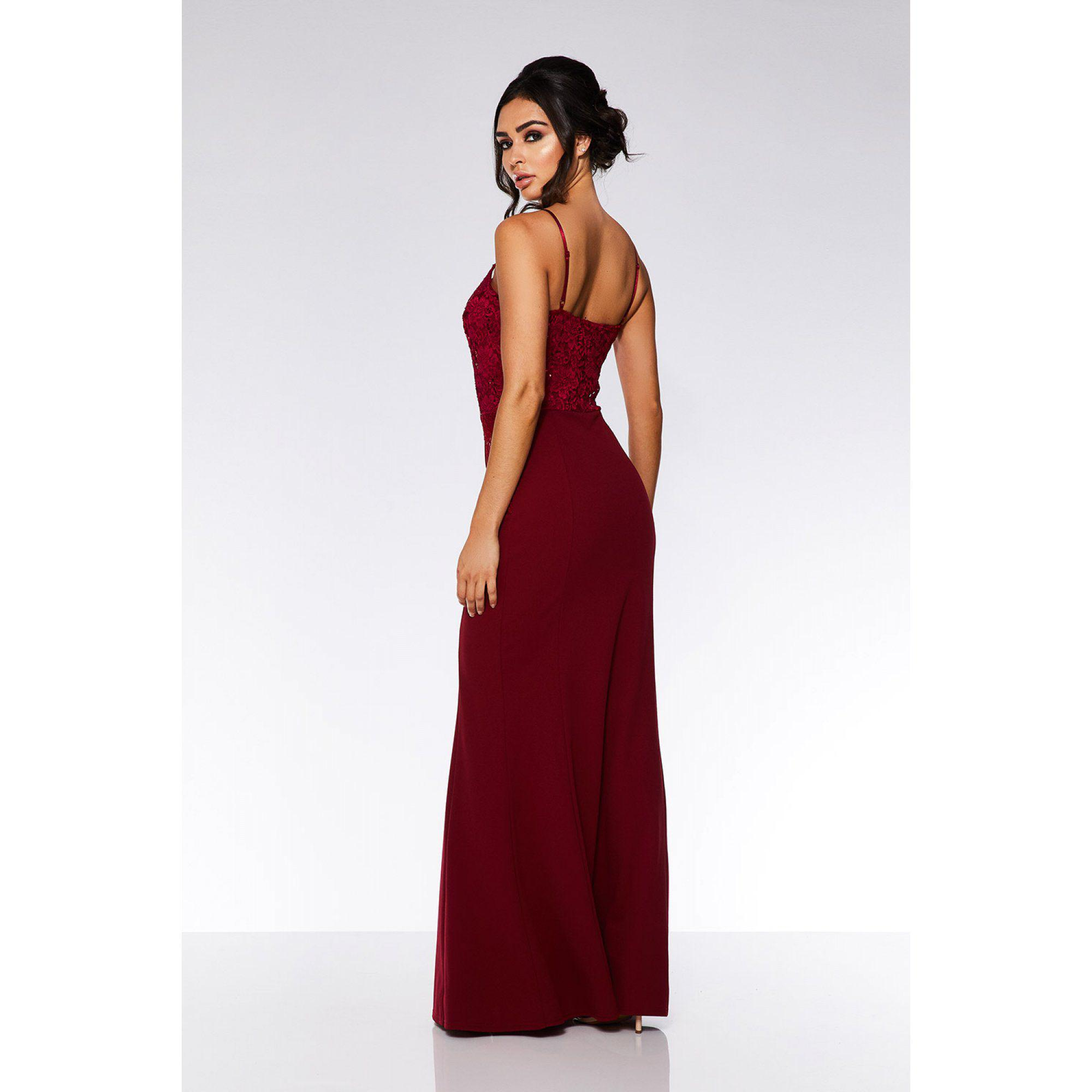 45e6118d Quiz Berry Sequin Lace Maxi Dress in Red - Lyst