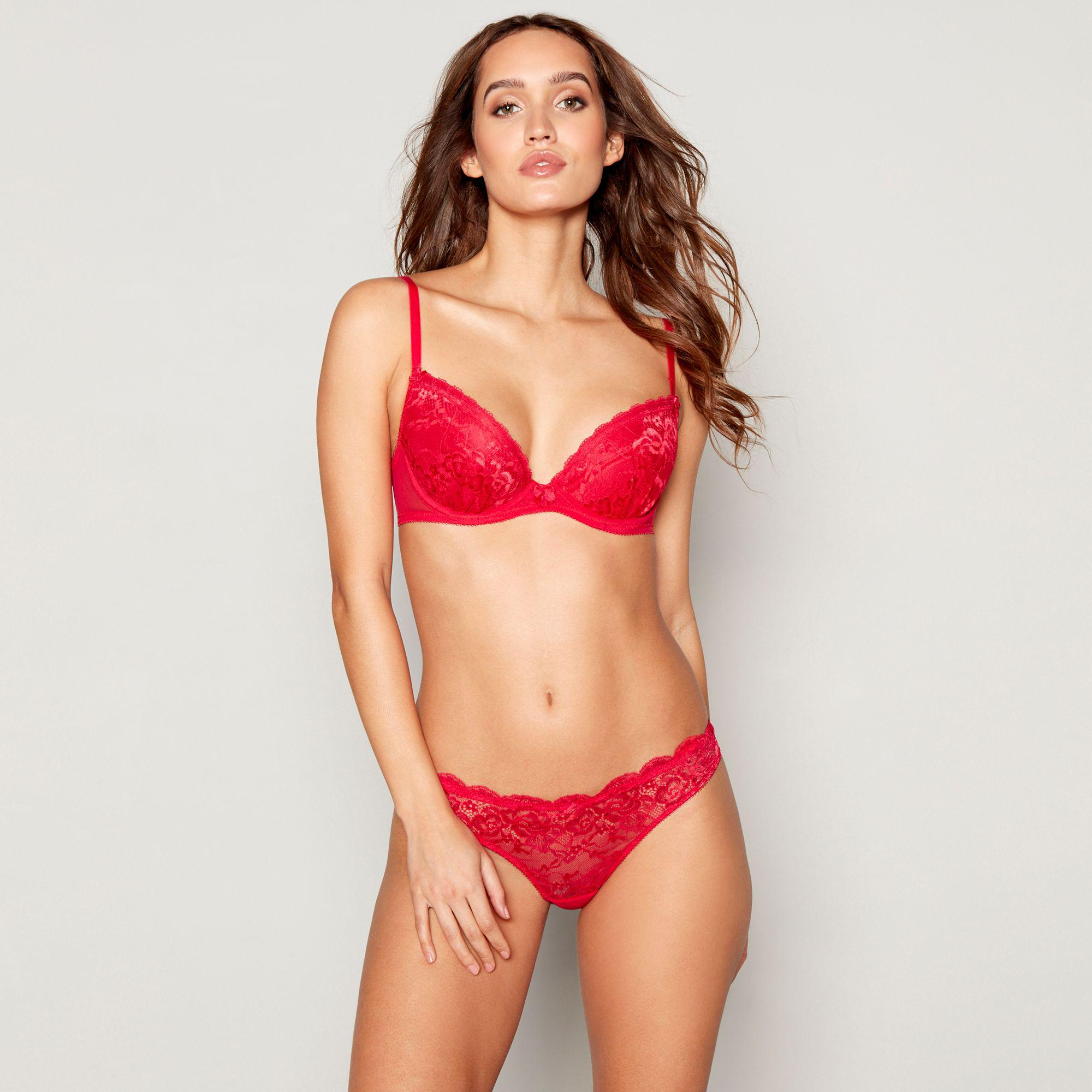 00cf1df1d405 Ann Summers Red Lace Underwired Padded Plunge Bra in Red - Lyst