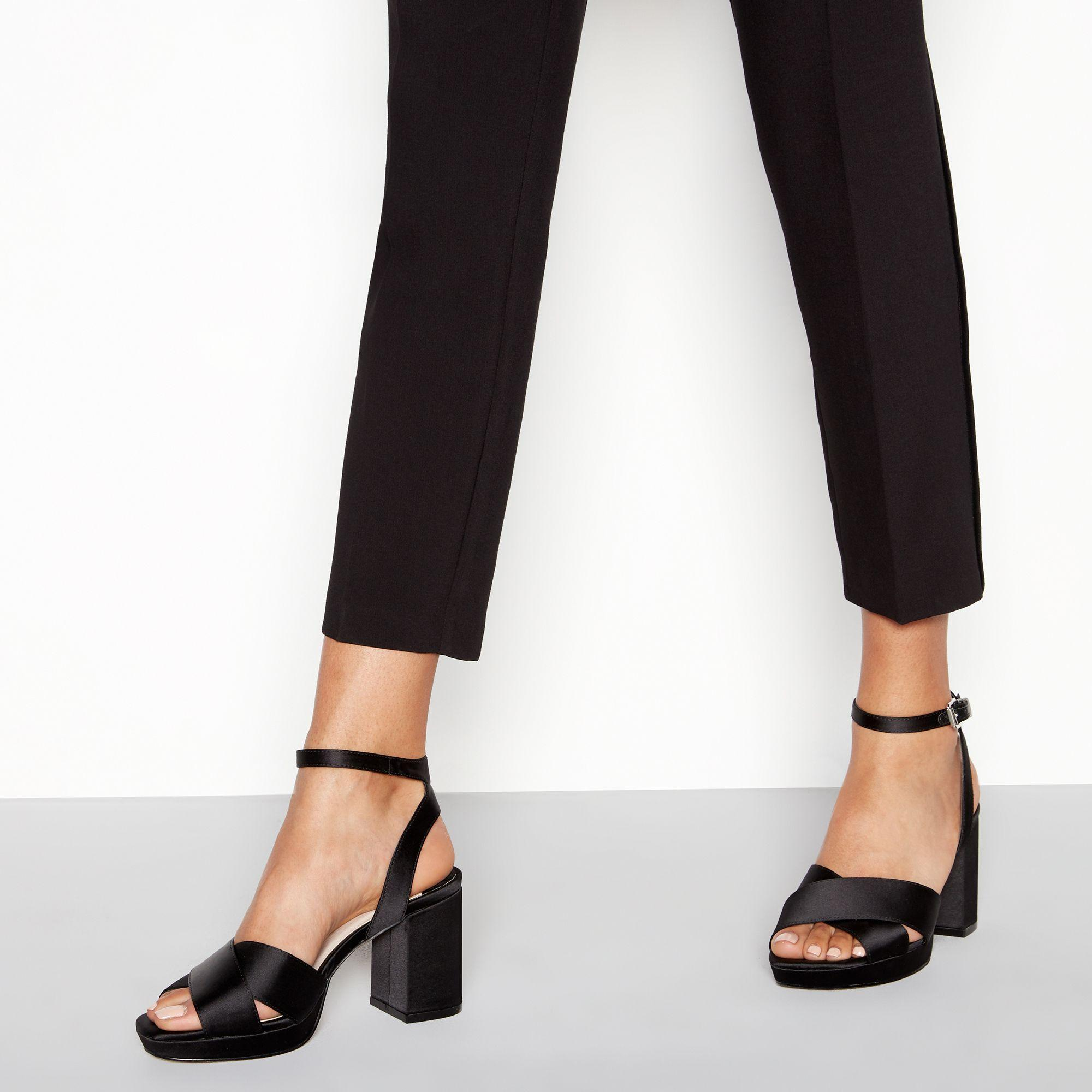 631b4ae99b Faith Black Satin 'worothy' High Platform Heel Wide Fit Sandals in ...