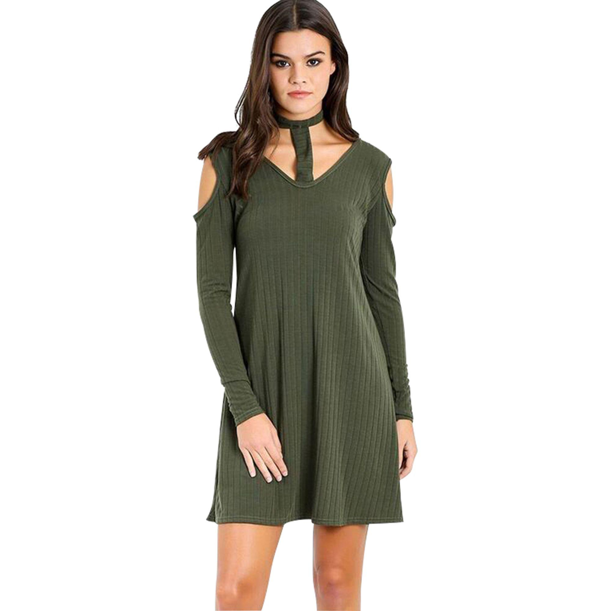 b866782862a3 Be Jealous Khaki Choker Neck Ribbed Swing Dress in Green - Lyst