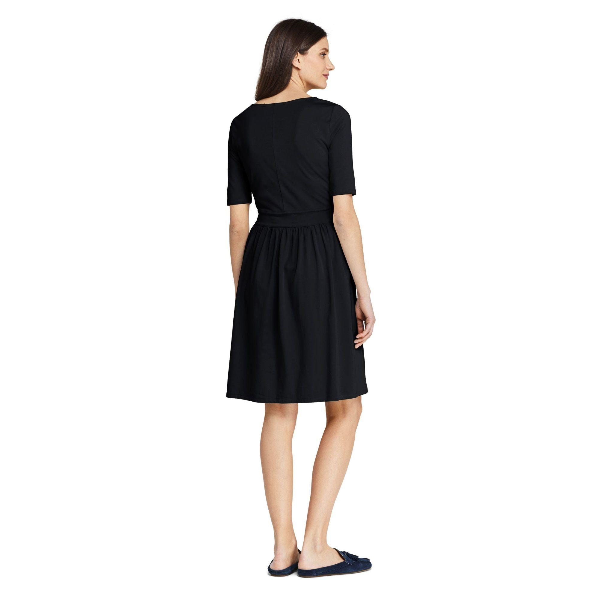 a2cbe075bf Lands  End - Black Plus Elbow Sleeve Fit And Flare Dress - Lyst. View  fullscreen