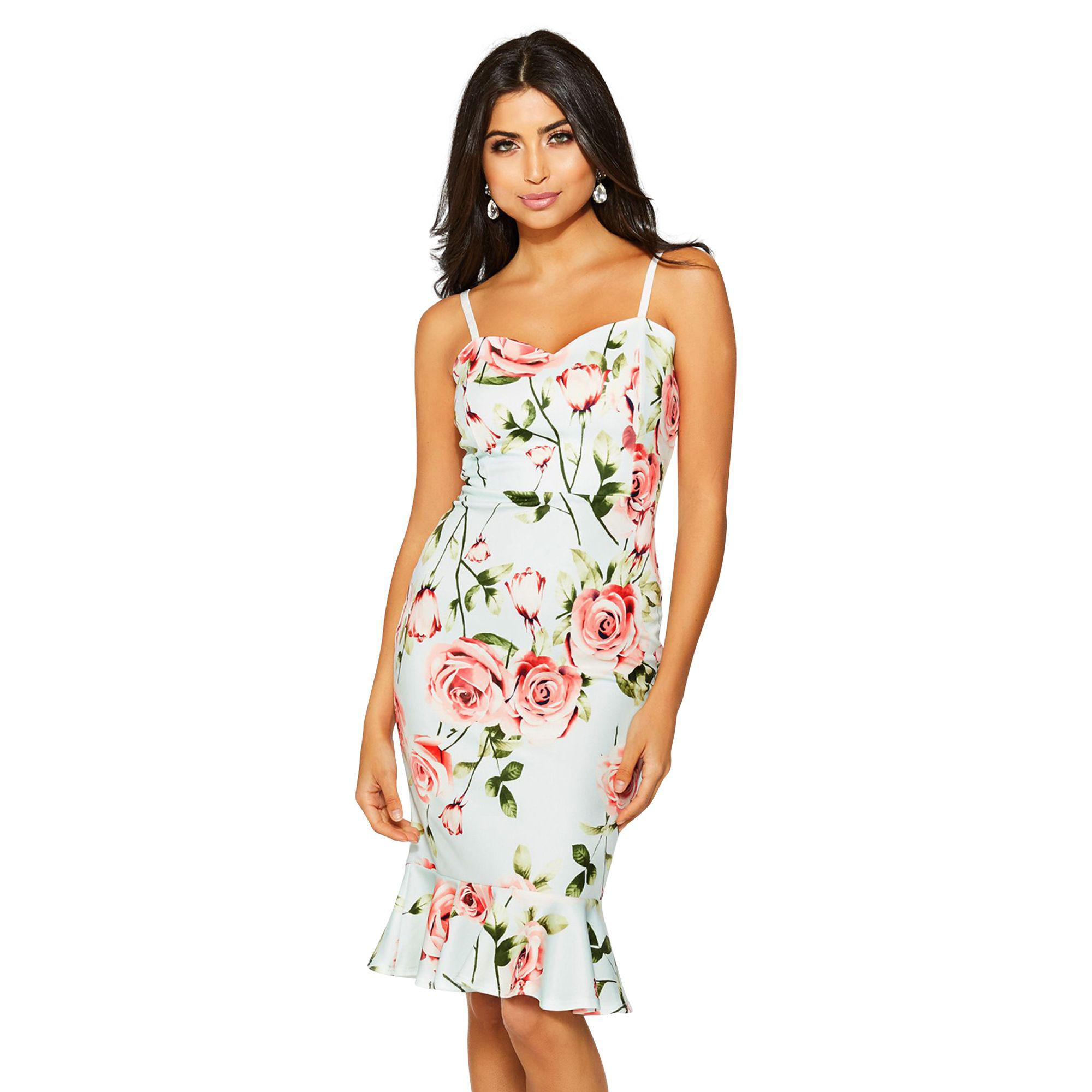 d72e85339248 Quiz Mint And Pink Floral Strap Midi Dress in Green - Lyst