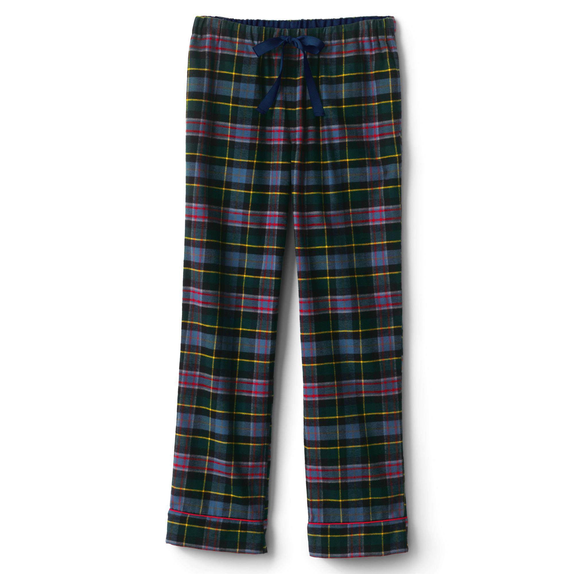 612e691d85 Lands  End Black Plus Plaid Flannel Pyjama Bottoms in Black - Lyst