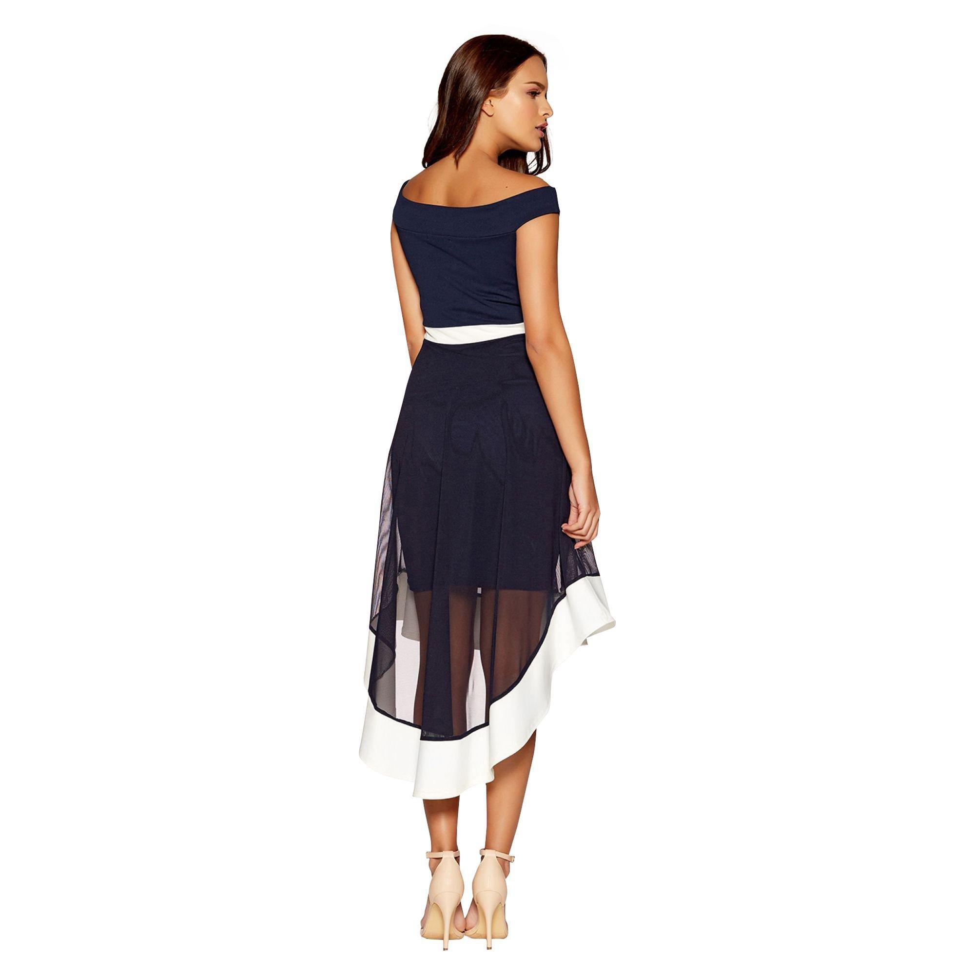 ... Navy And Cream Mesh Bardot Skater Dress - Lyst. View fullscreen 54d72c1f8