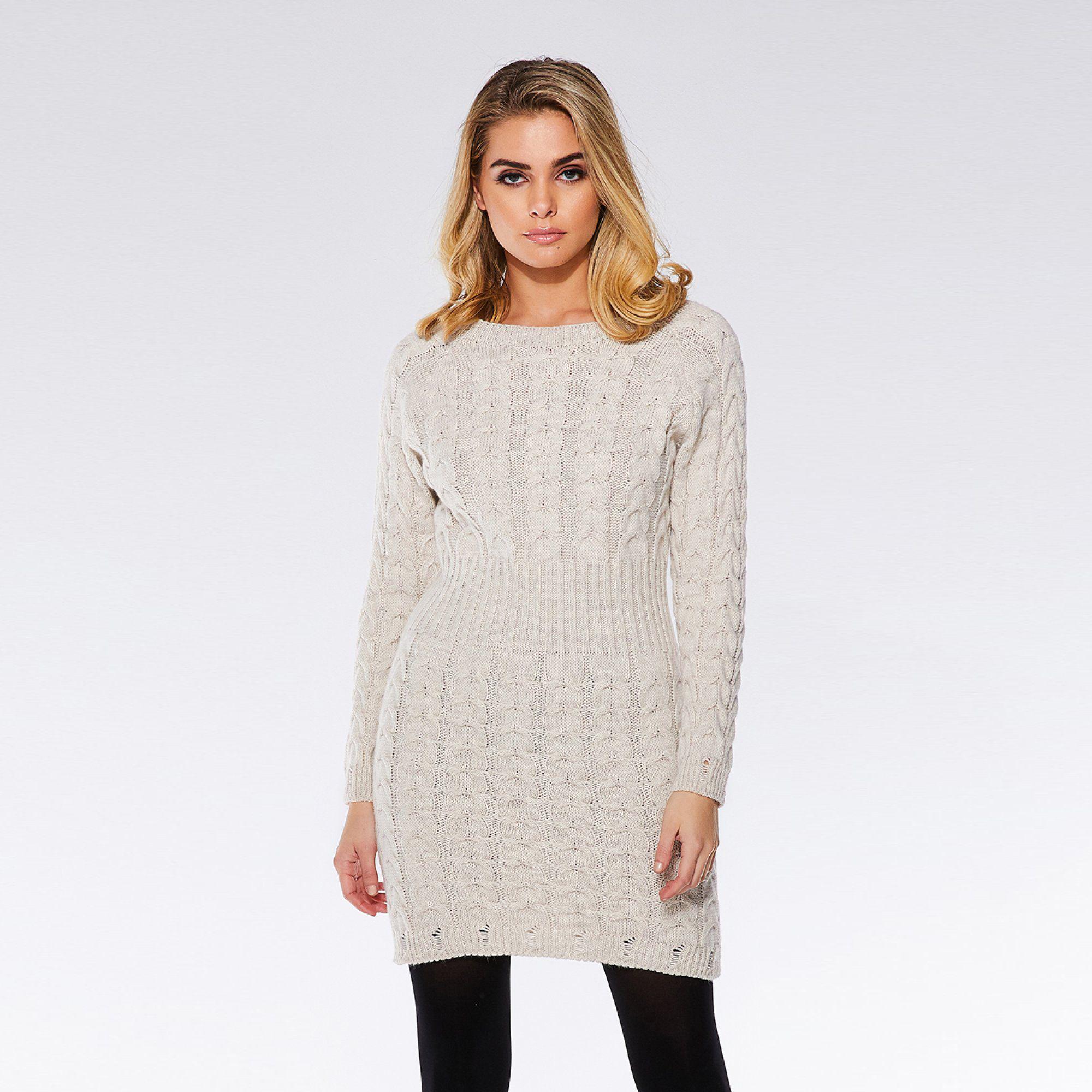 2d412ec59ea0 Quiz Oatmeal Knit Cable Design Jumper Dress in Natural - Lyst