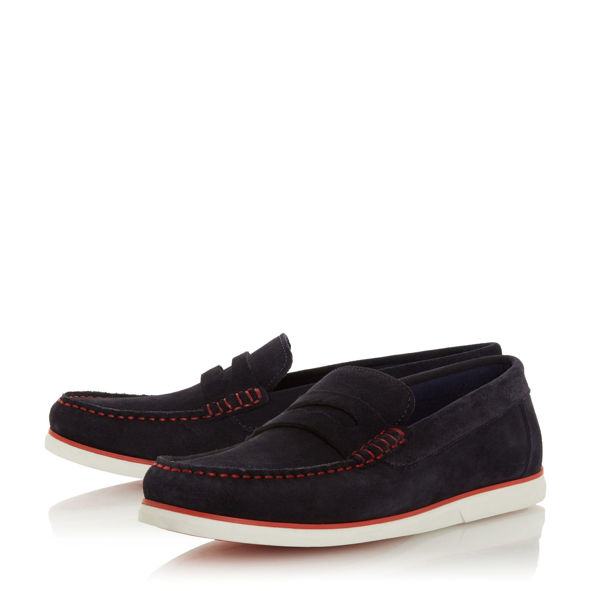 0c1596fdf72 Dune Navy  belwood  Suede Penny Loafers in Blue for Men - Lyst