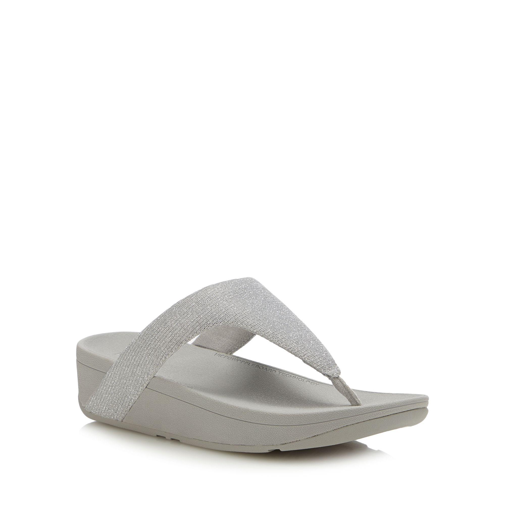 aab271e7c93e Fitflop Silver  lottie Glitzy  Wedge Heel Sandals in Metallic - Lyst