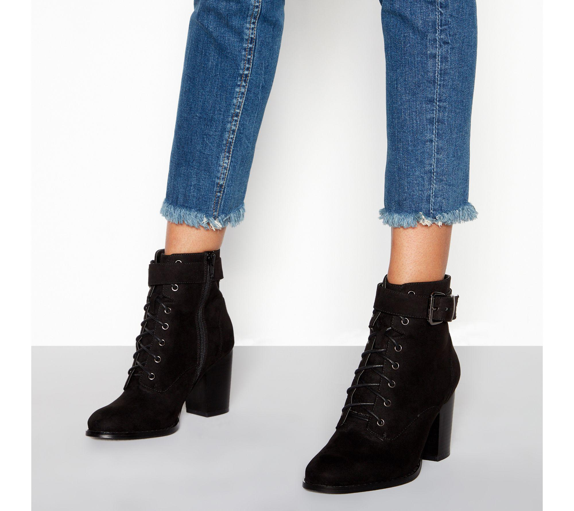 buy cheap wiki Black suedette lace-up 'Willoughby' block heel wide fit ankle boots cheap sale footlocker pictures outlet visit new real outlet best wholesale vX0zGiAX