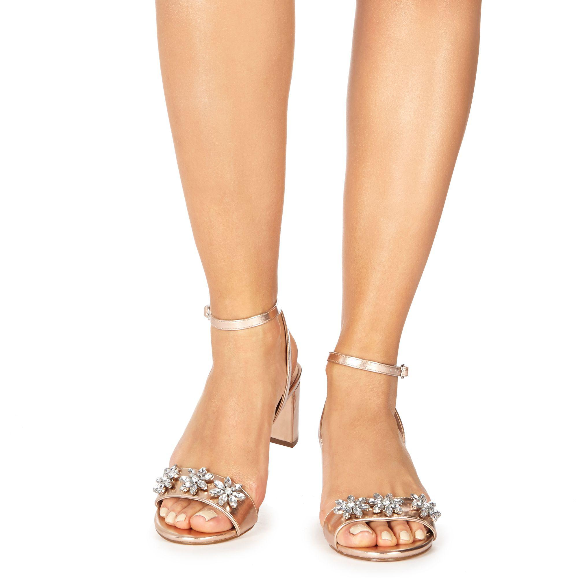 3ede45106566 Faith Rose Gold  dom-zal  Mid Block Heel Ankle Strap Sandals in Pink ...