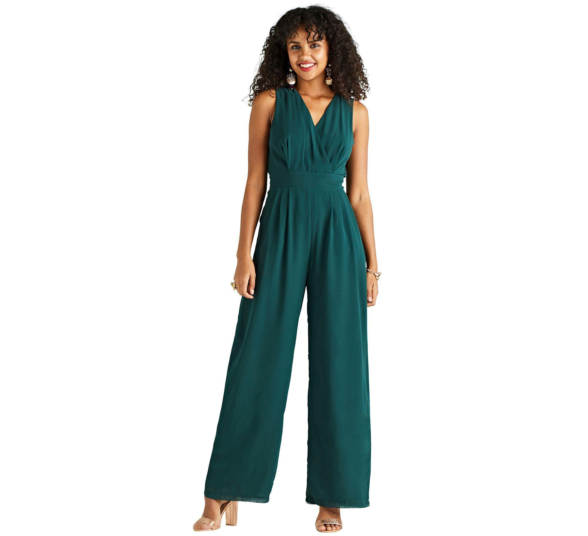 d516654da814 Yumi  Green Wrap Jumpsuit With Side Pockets in Green - Lyst