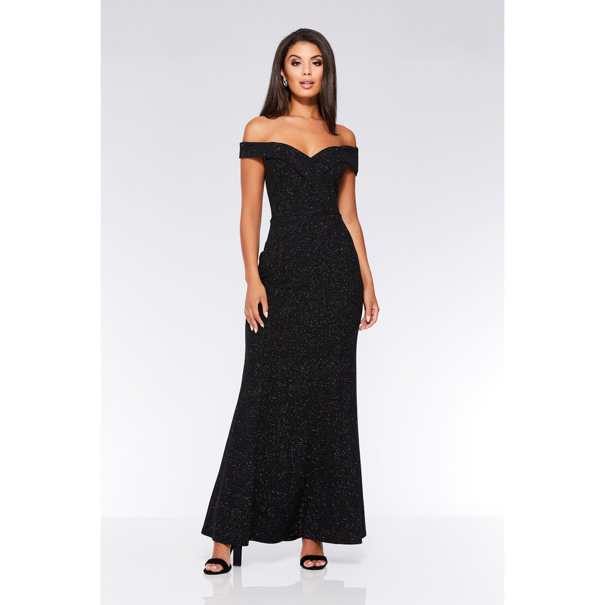 b406336e Quiz Black Glitter Bardot Maxi Dress in Black - Lyst