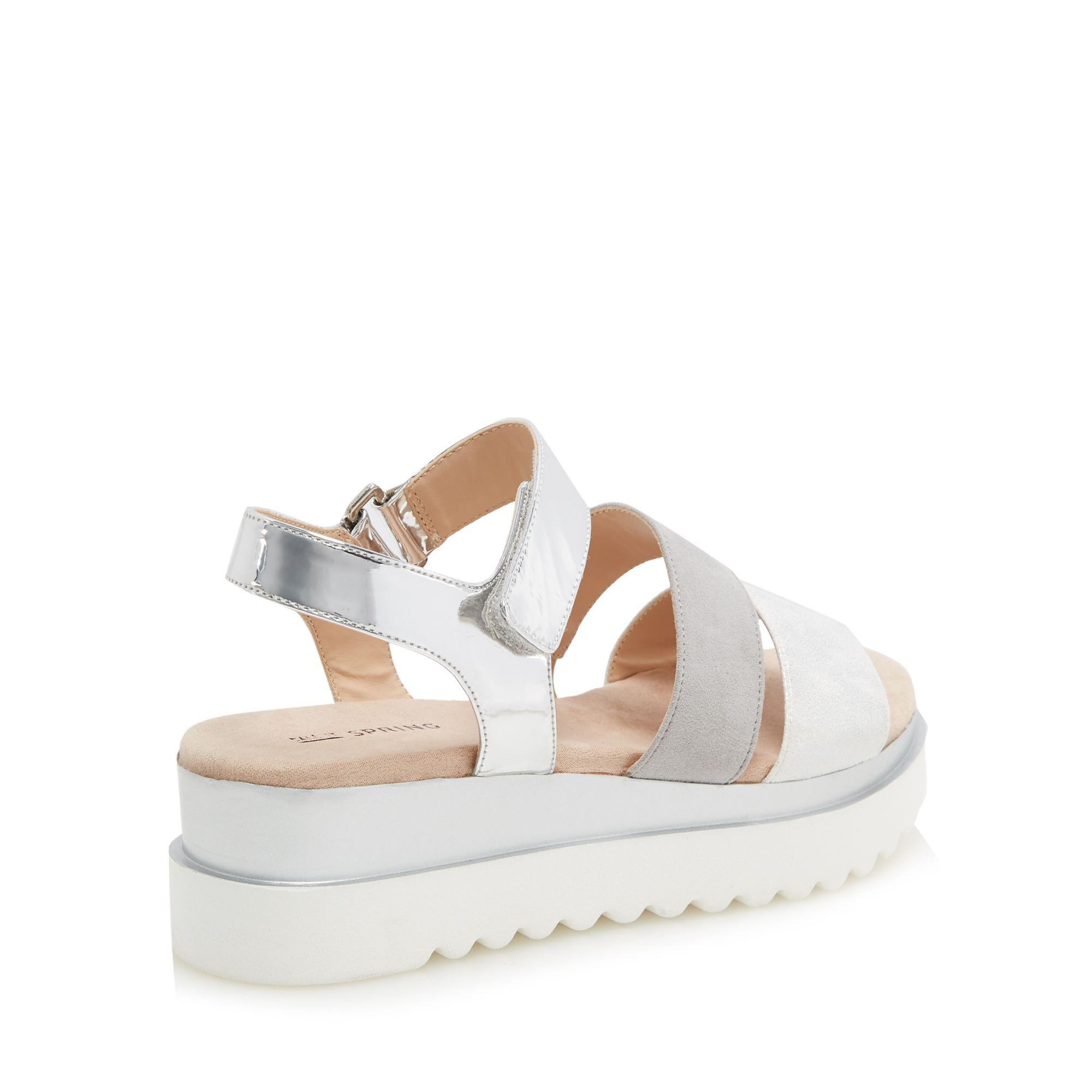4421d1ebd78 Call It Spring Silver  yboreni  Mid Flatform Heel Ankle Strap ...