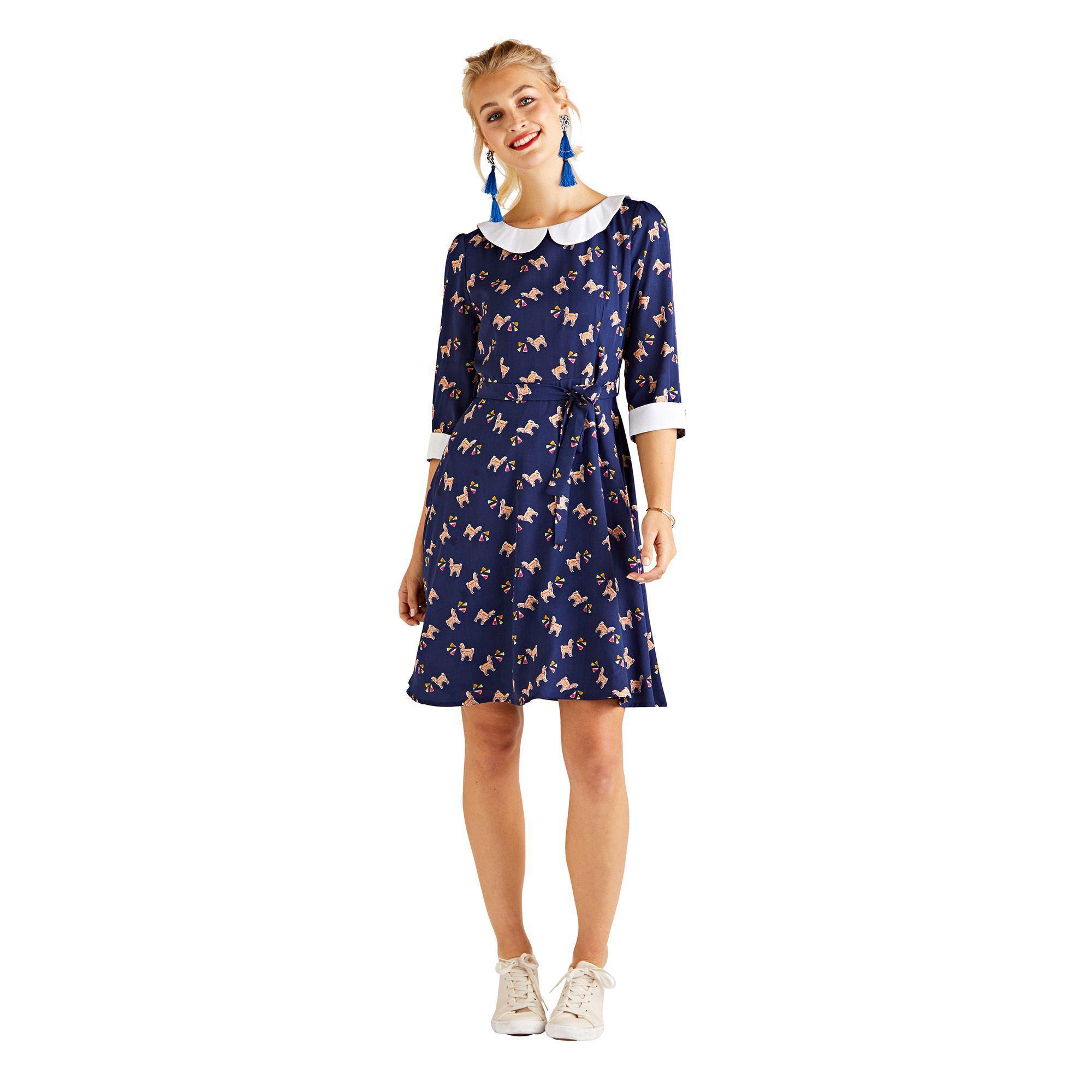 92d69f240a0df Yumi' Navy Llama Print 'elitha' Skater Dress in Blue - Lyst