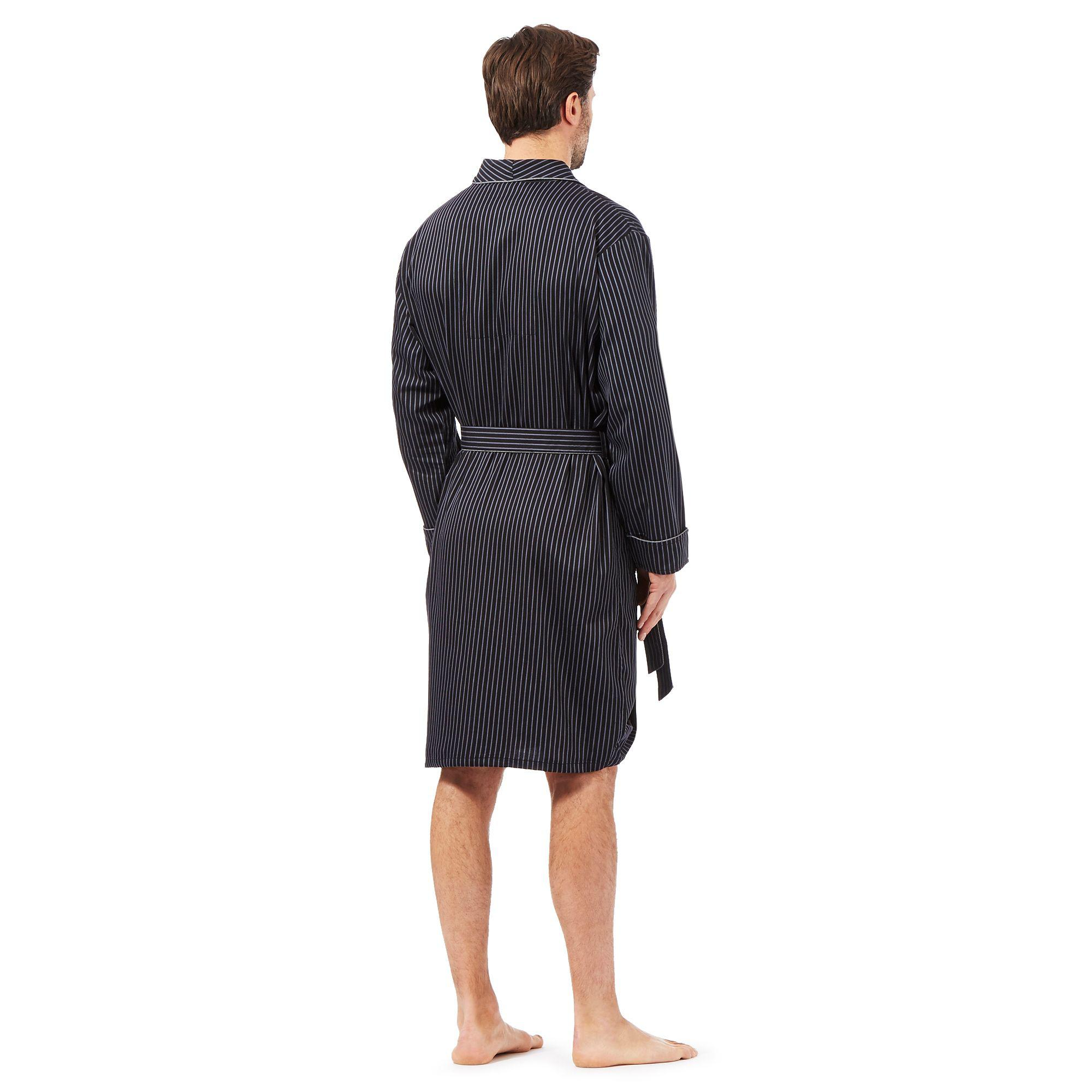 ce9c4a9eee J By Jasper Conran Designer Black Satin Stripe Dressing Gown in ...