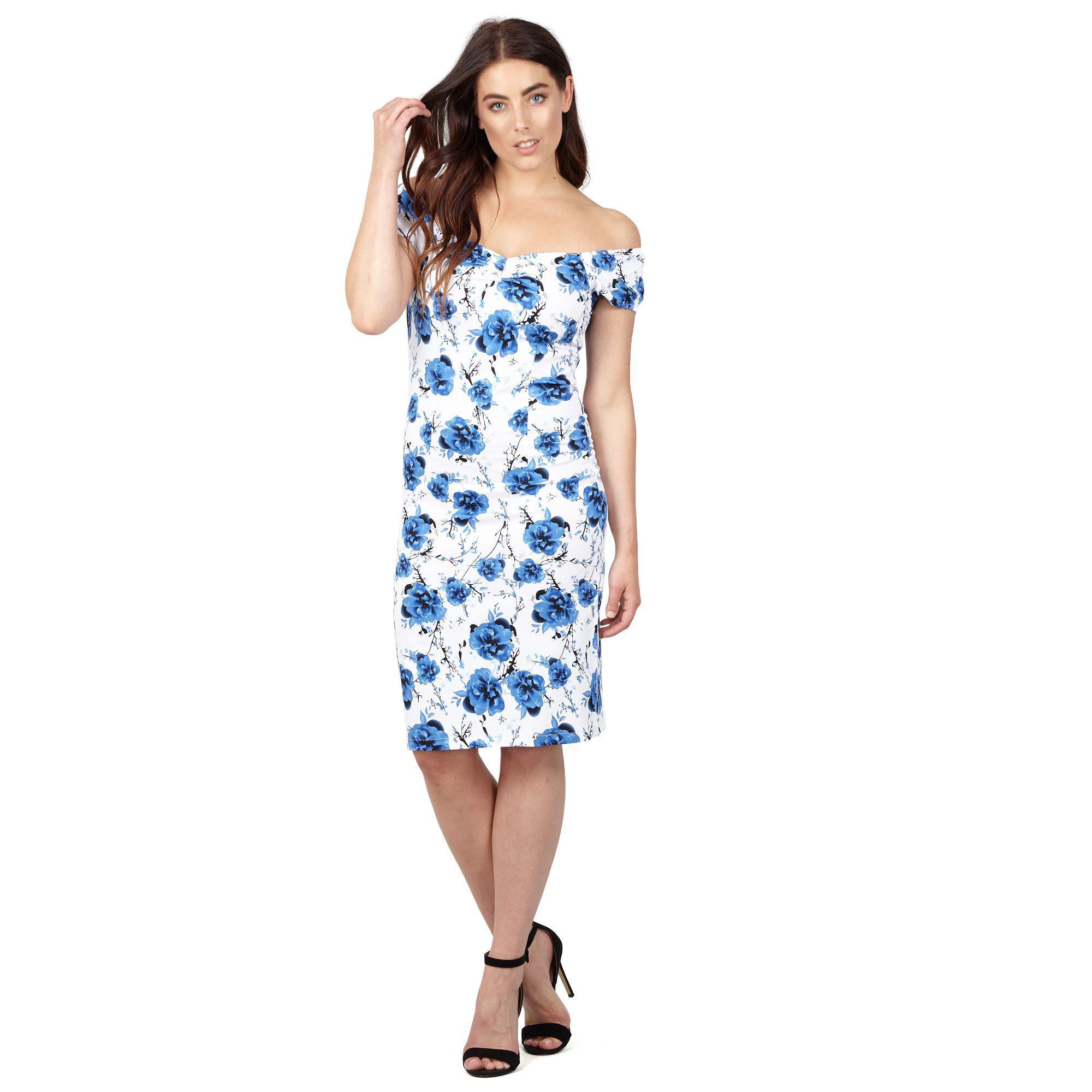 953f961e6fa Izabel London Blue Floral Print Shift Dress in Blue - Lyst