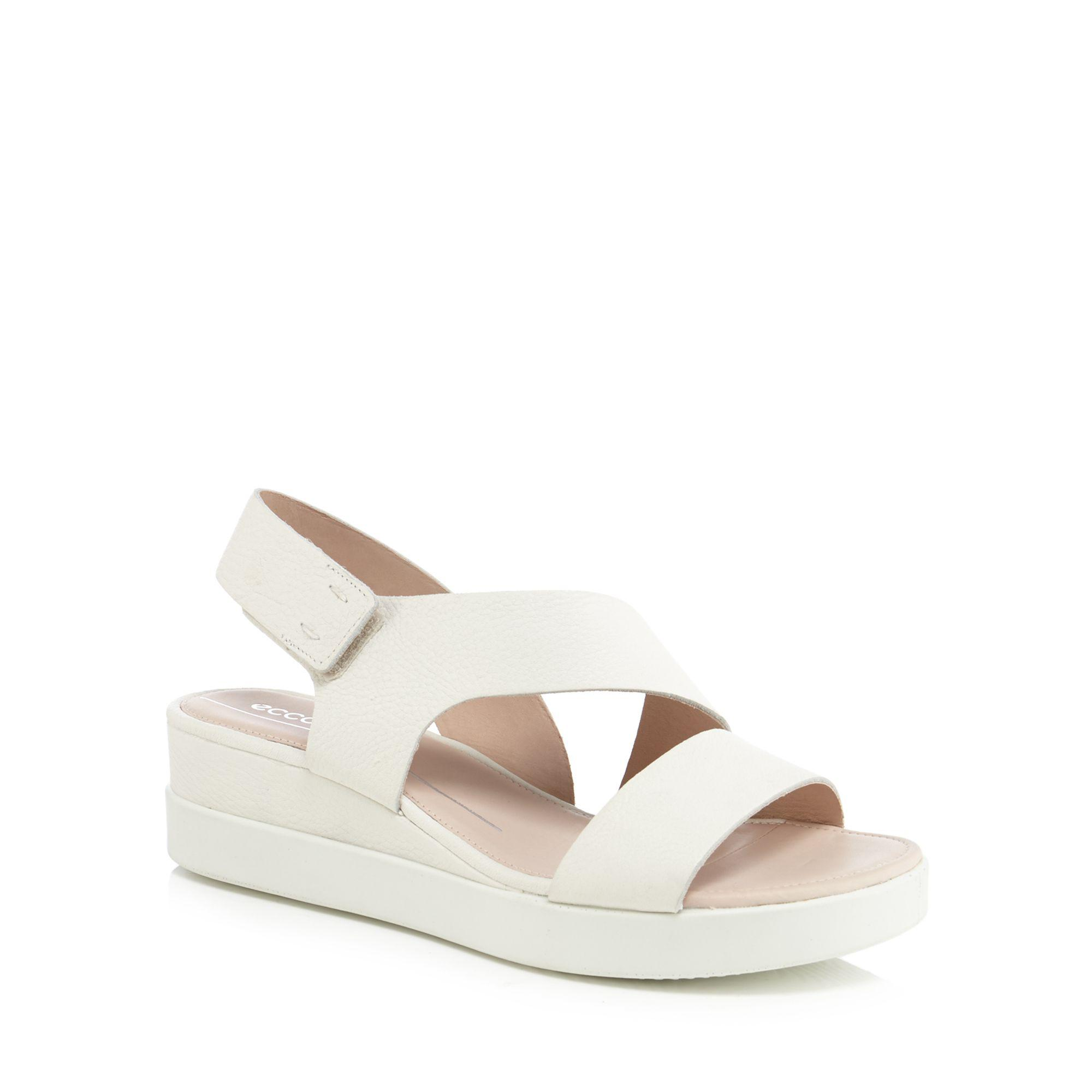15843e8d25b Ecco White Leather  touch Sandal Plateau  Mid Wedge Heel Sandals in ...
