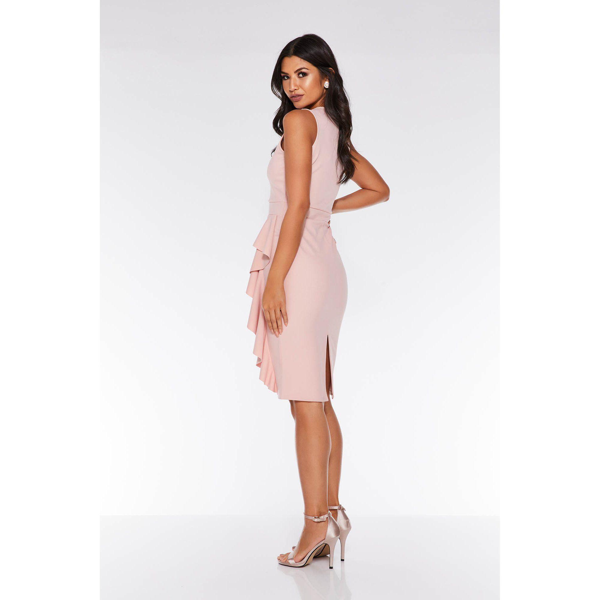 2937d13d38 Quiz - Dusky Pink V Neck Frill Midi Dress - Lyst. View fullscreen