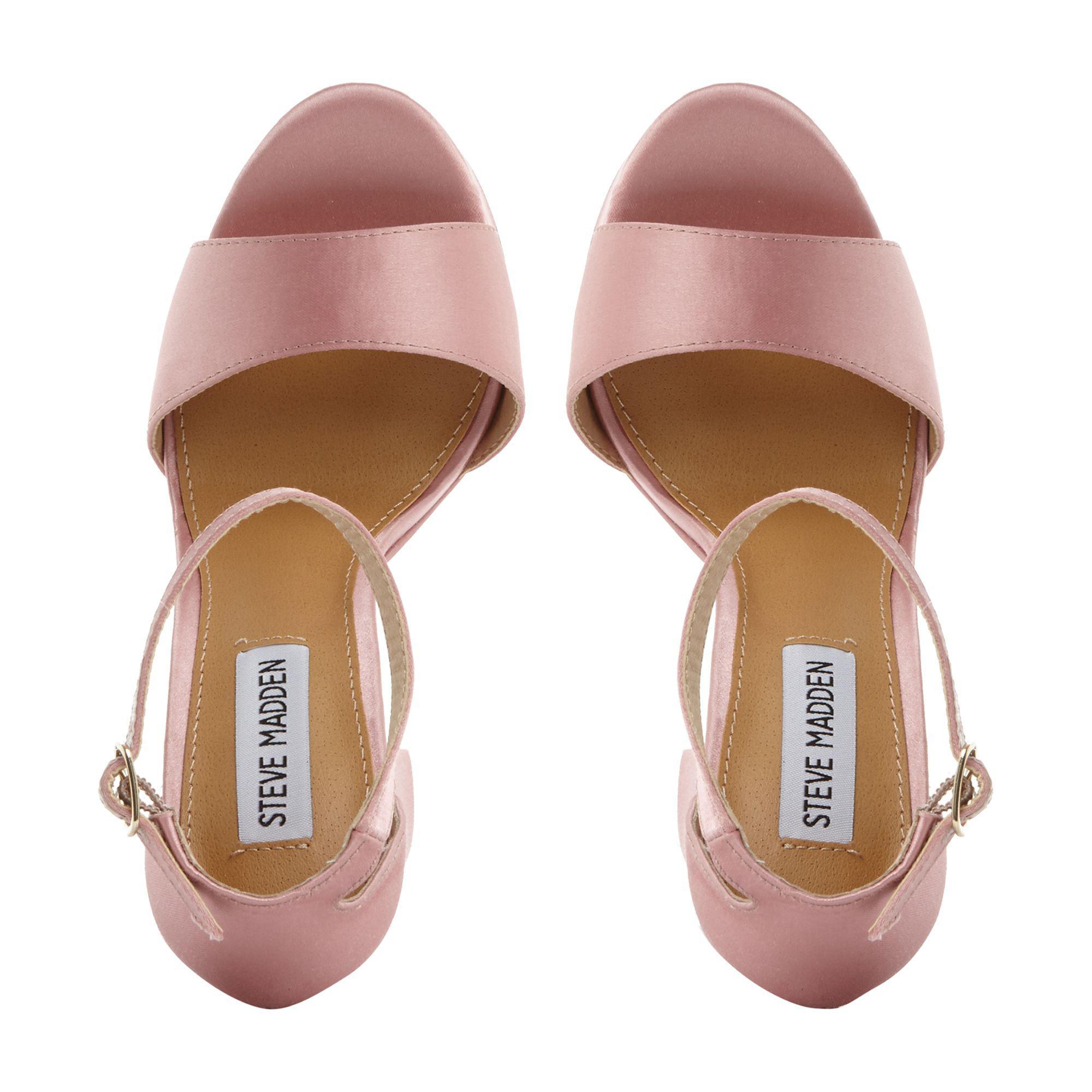 db52099d2135 Steve Madden - Pink Satin  gonzo F  High Platform Ankle Strap Sandals - Lyst.  View fullscreen