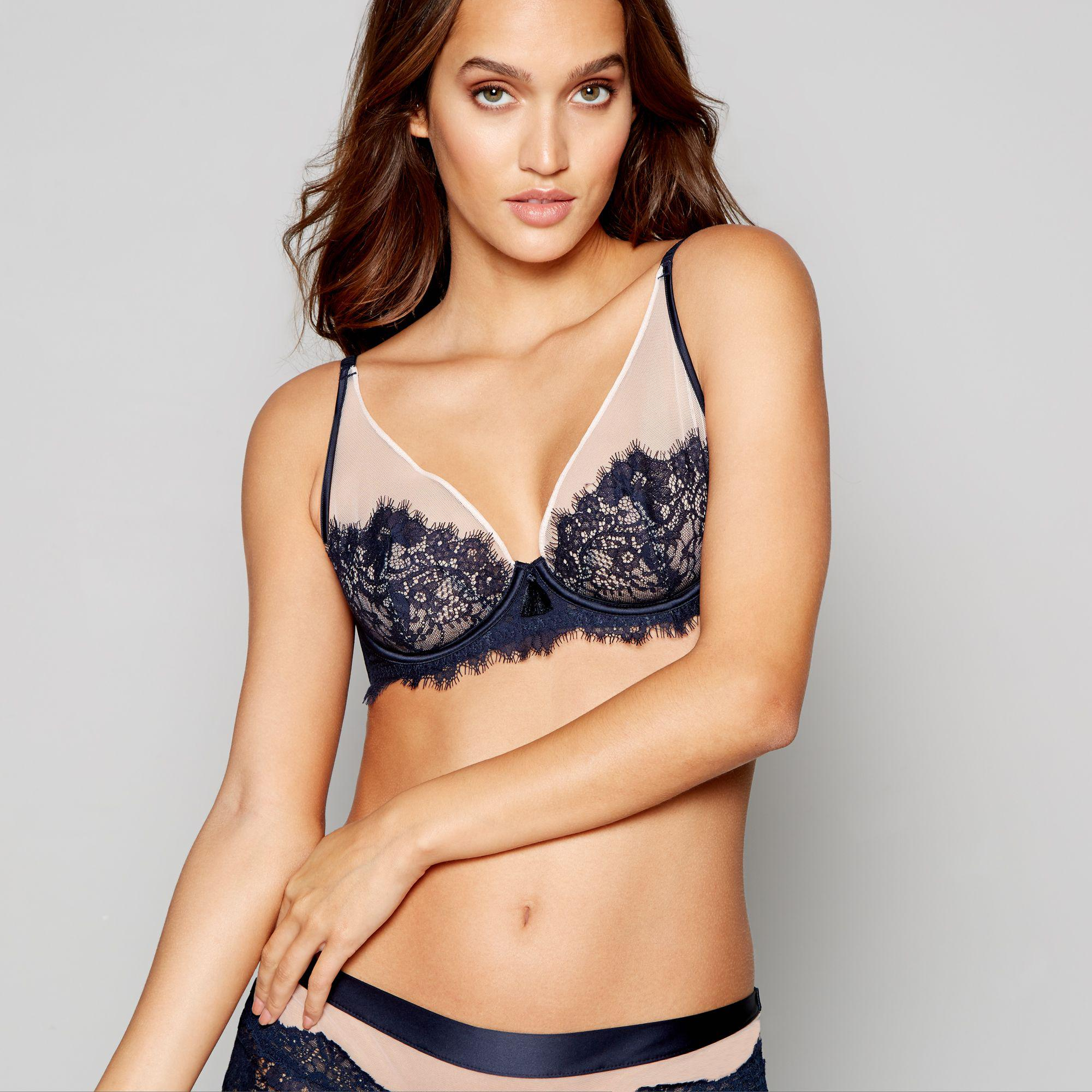 553f2ea5f05f9a Ted Baker - Blue Navy Lace Mesh Underwired Non-padded Bra - Lyst. View  fullscreen