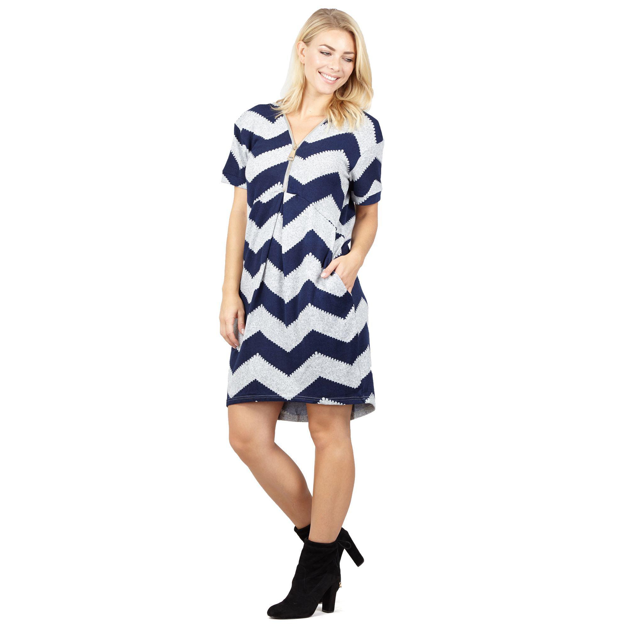 692374e11a3 Izabel London Navy Zig Zag Tunic Dress in Blue - Lyst