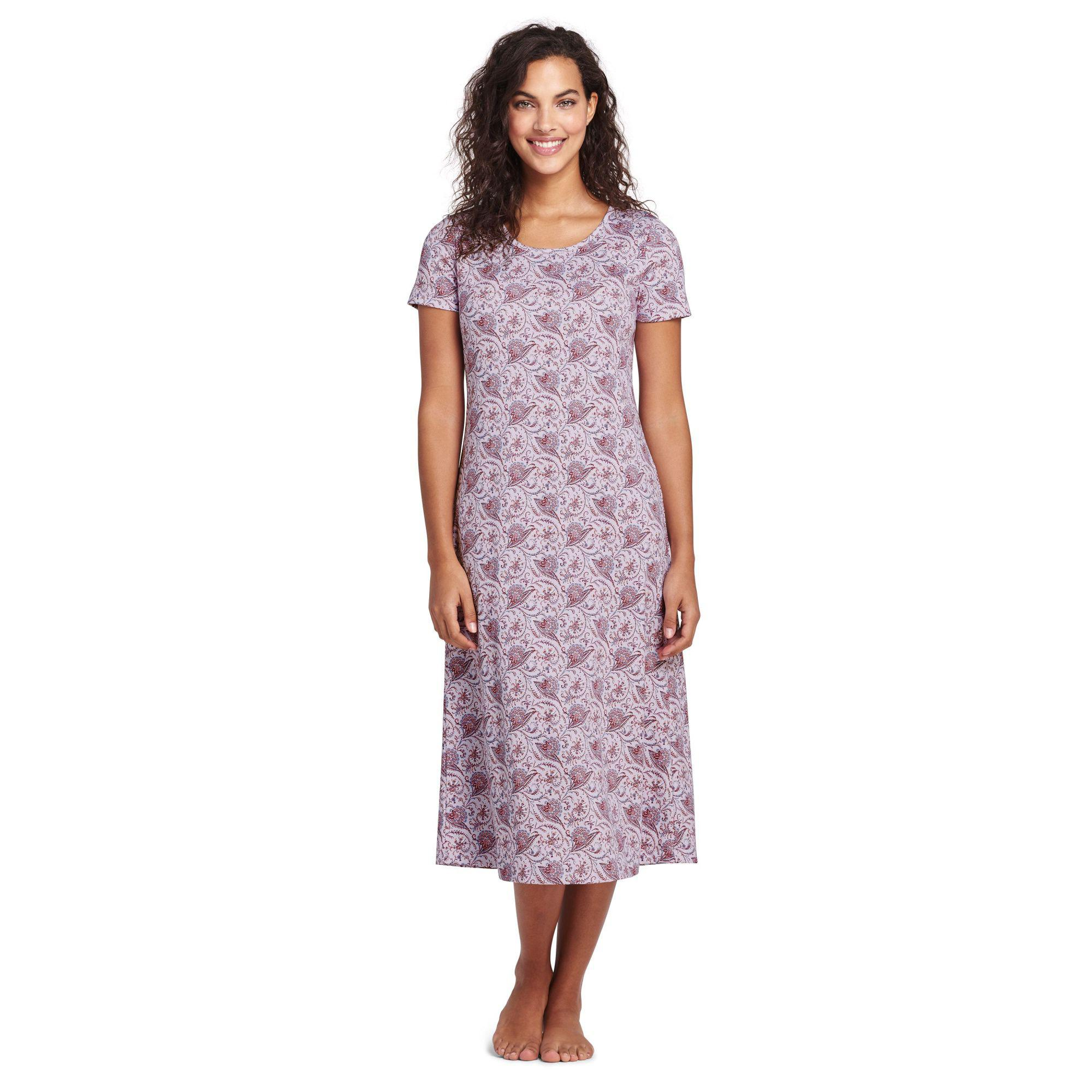 9b9f039ddd7 Lands  End - Purple Supima Patterned Short Sleeve Calf-length Nightdress -  Lyst
