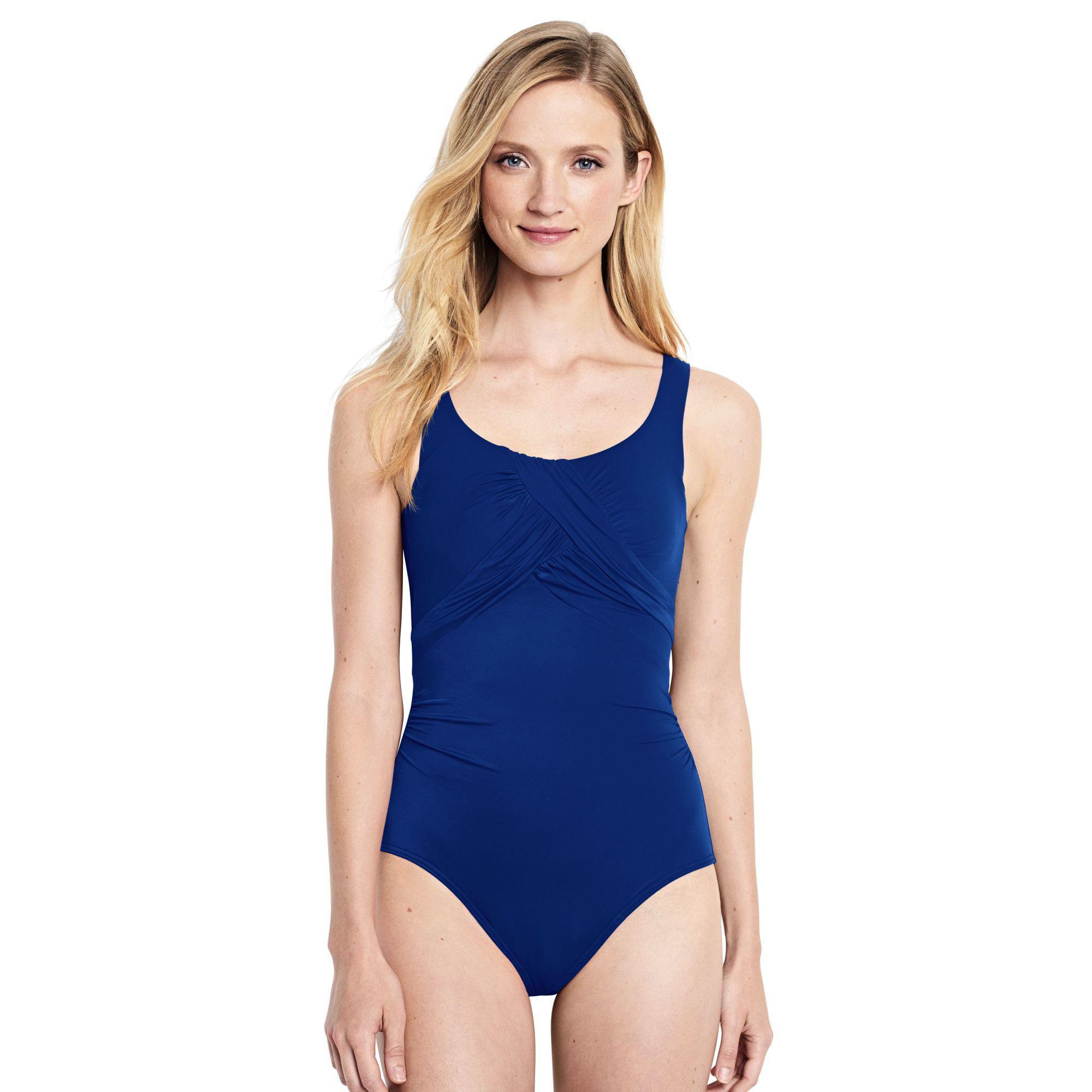 7b0f86c9a8b Lands' End Blue D-cup Carmela Slender Swimsuit in Blue - Lyst