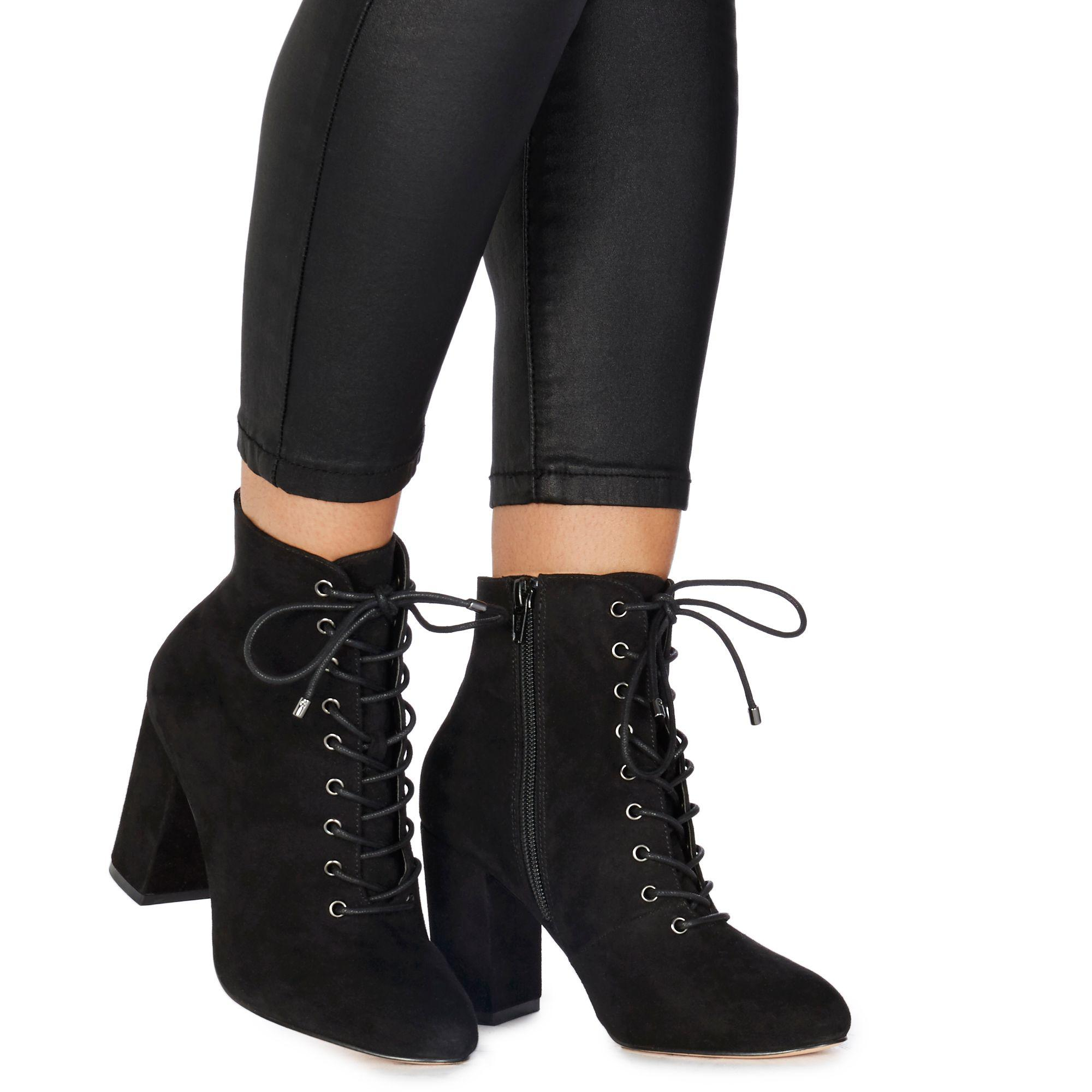 4ed7da1ac061 Faith Black Suedette  barb  High Block Heel Ankle Boots in Black - Lyst