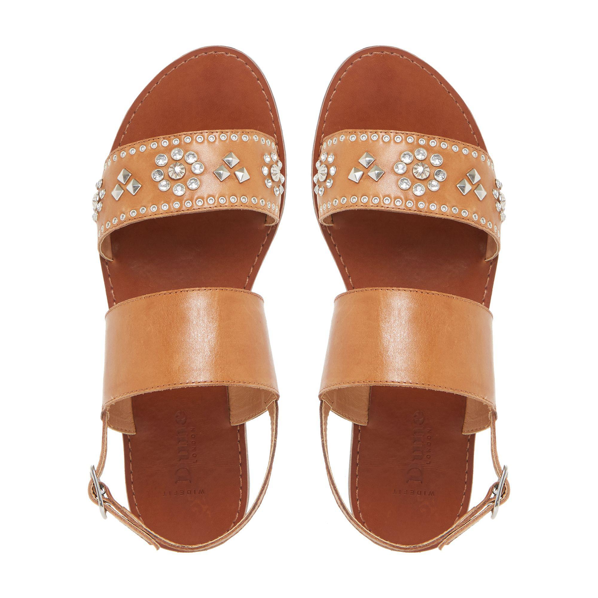 7bcbf640f81ac6 Dune - Brown Tan  w Luma  Slingback Stud And Diamante Flat Sandals - Lyst.  View fullscreen