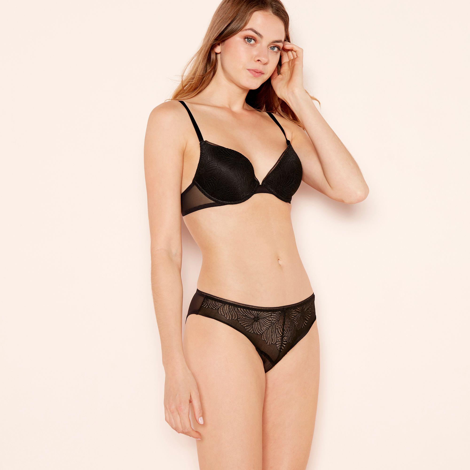 f1ecad04793d5 Wonderbra Black Embroidered Lace 'fabulous Feel' Underwired Padded T ...