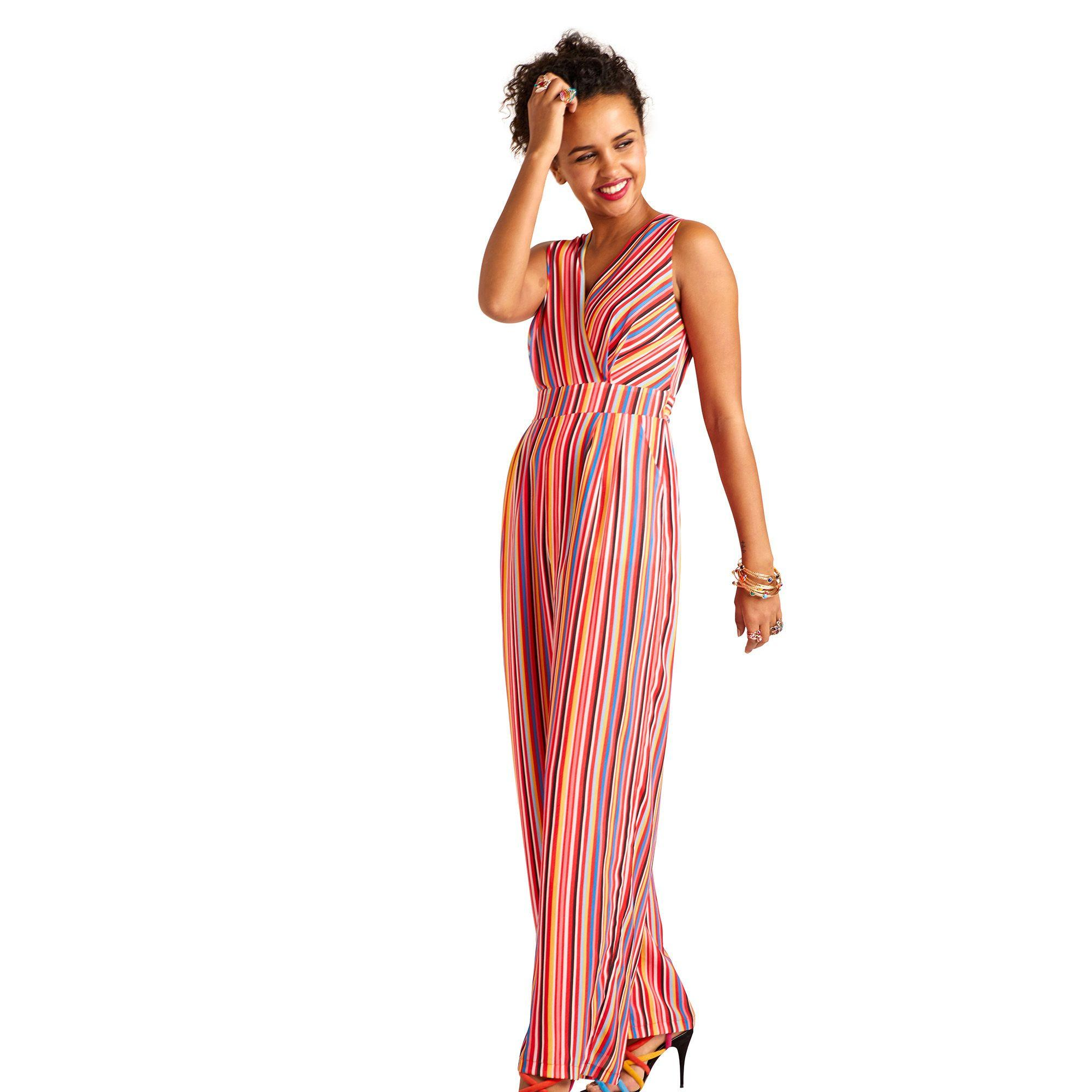 7822629d238 Yumi  Multicoloured Stripe Print Wrap Jumpsuit in Red - Lyst