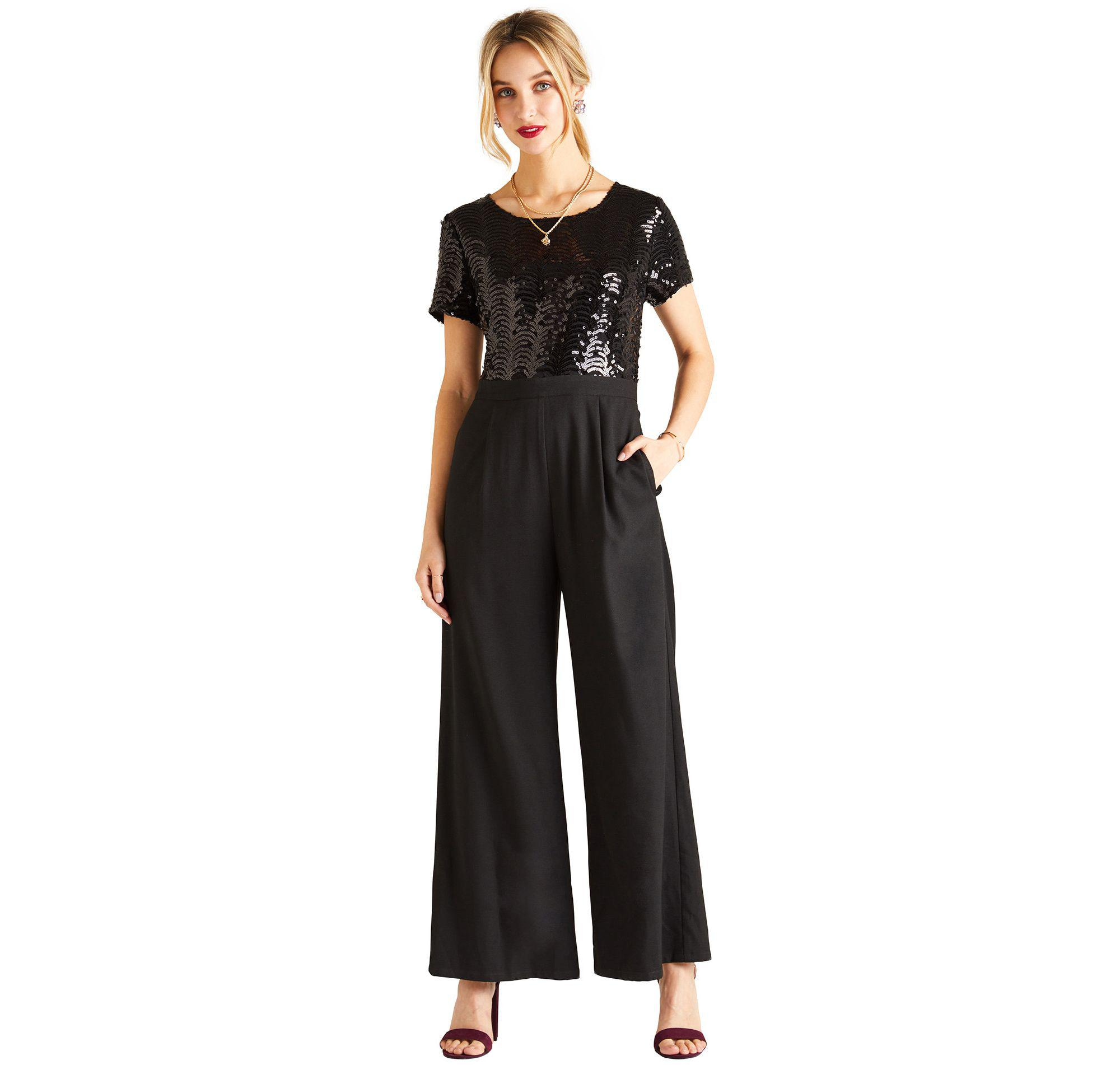 57fda99c90 Yumi  Black Sequin Embellished Jumpsuit in Black - Save 26% - Lyst
