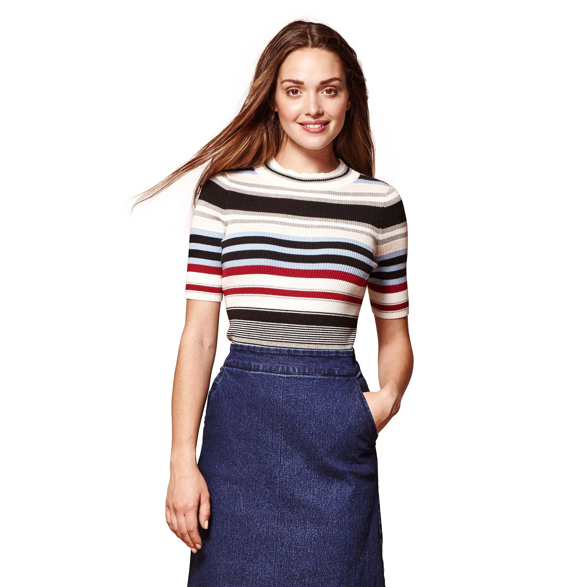 afde80f83f Yumi  Multicoloured Ribbed Contrasting Stripe Jumper in Blue - Lyst