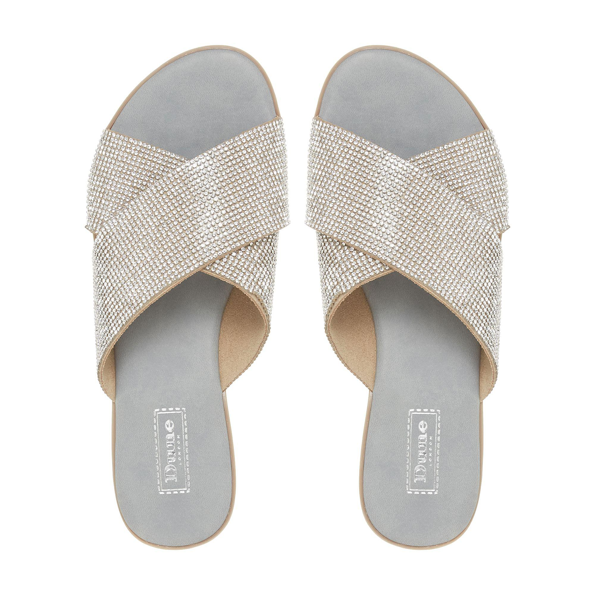 8cd9001f452eca Dune - Gray Grey Nevadaa Cross Strap Diamante Sandals - Lyst. View  fullscreen