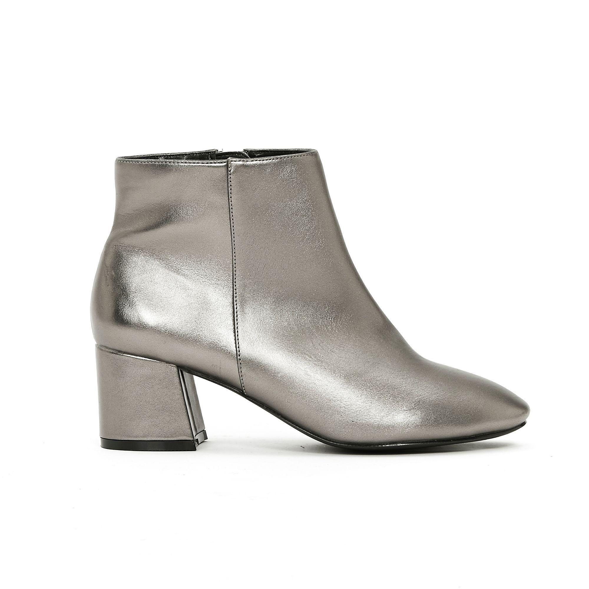 980b351e8716d Evans Wide Fit Metallic Block Heel Ankle Boots in Metallic - Lyst